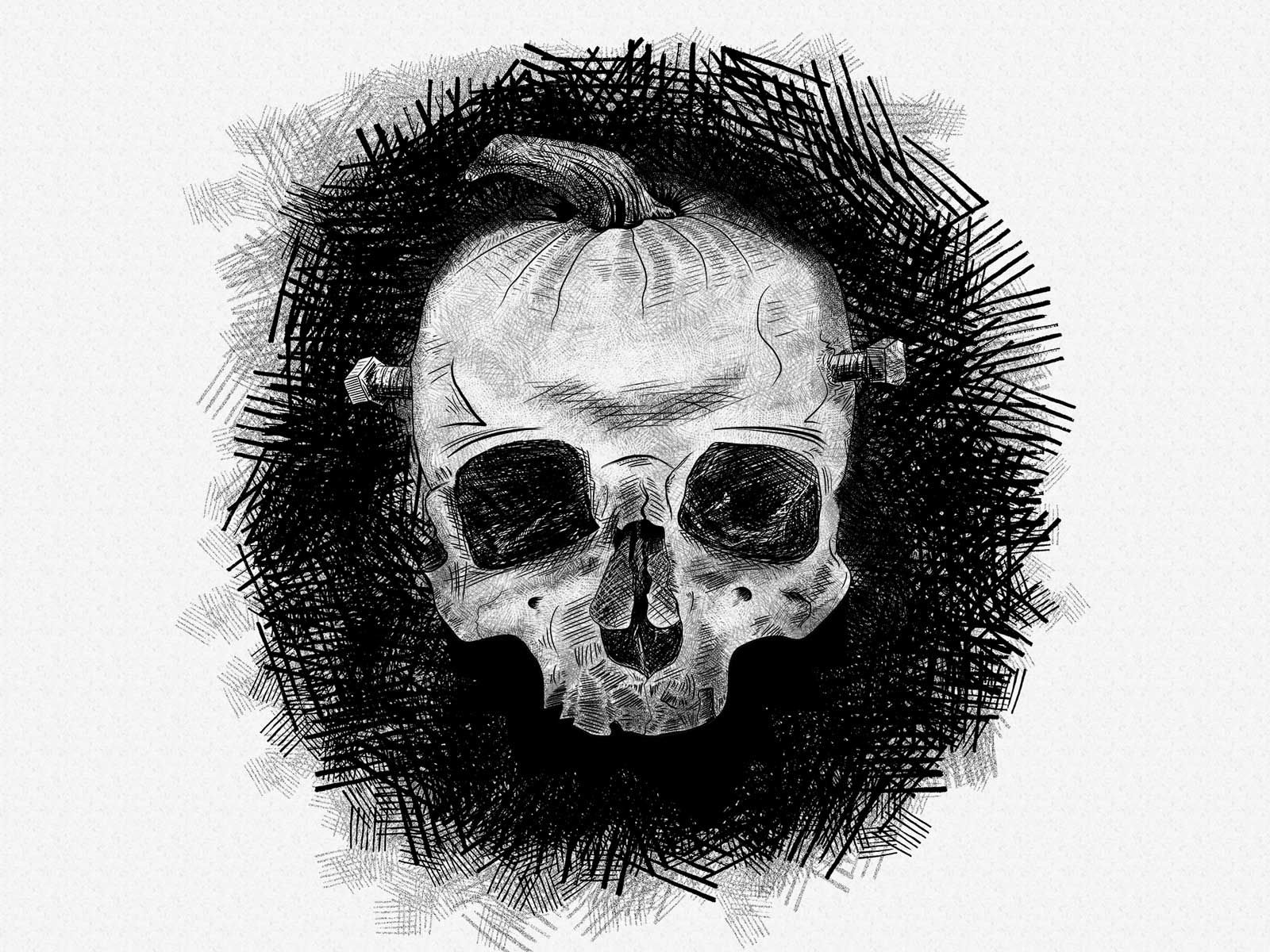Pumpkin Skull Illustration