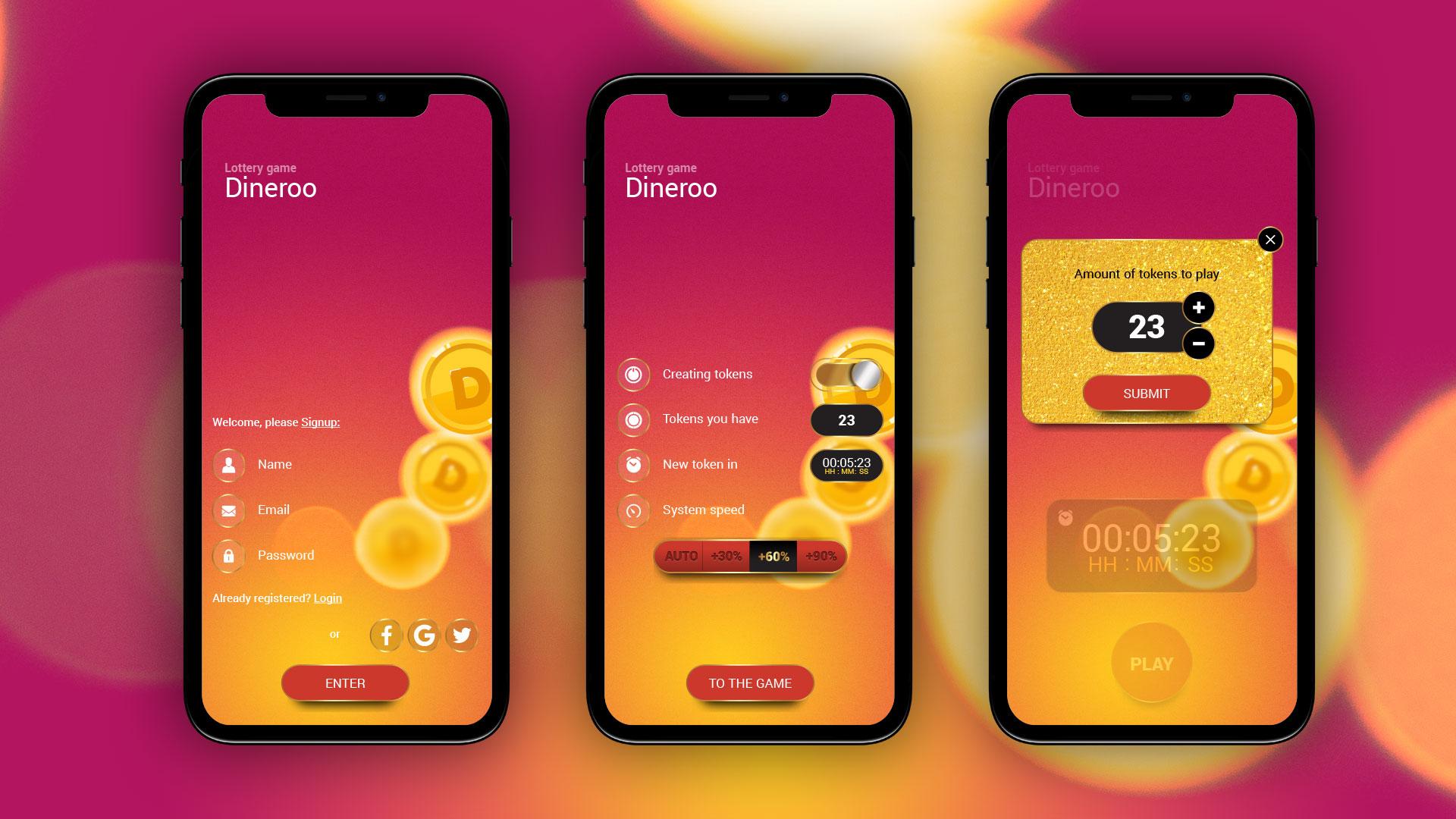 Lottery mobile app design UI עיצוב ממשק משתמש לאפליקציית מובייל Dineroo