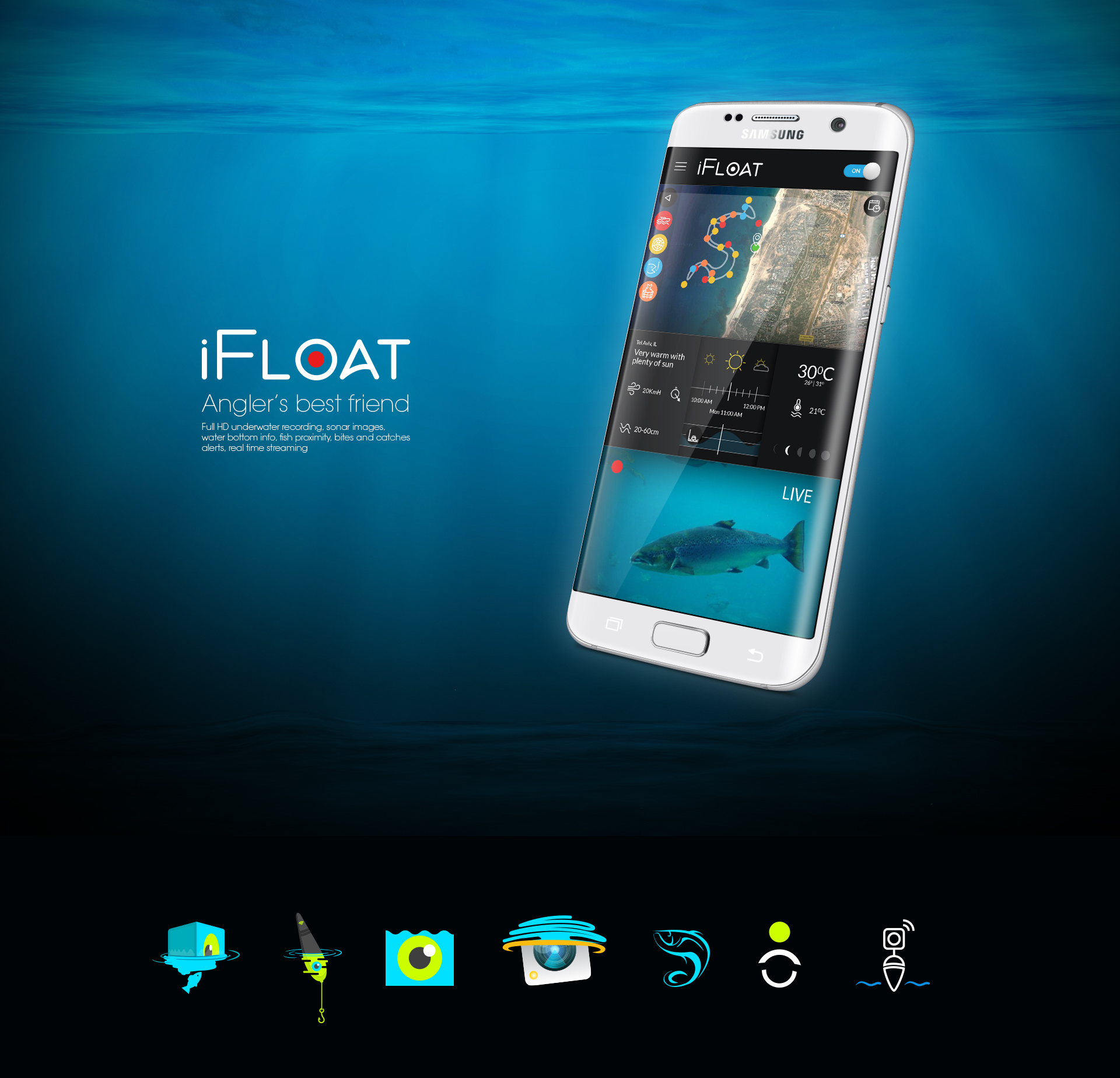 Mobile app design fishing עיצוב אפליקציית מובייל ifloat