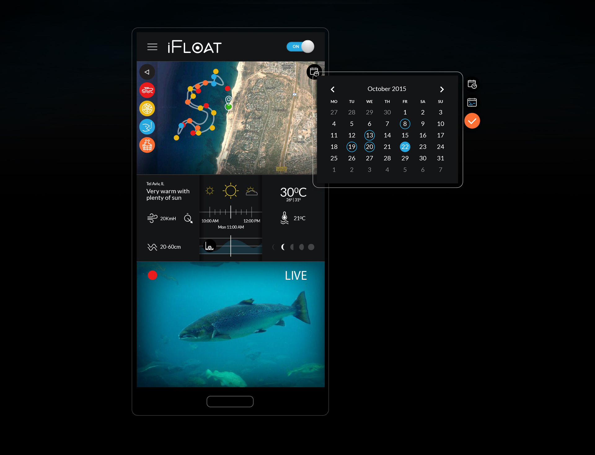 Mobile app design fishing calendar module עיצוב אפליקציית מובייל ifloat