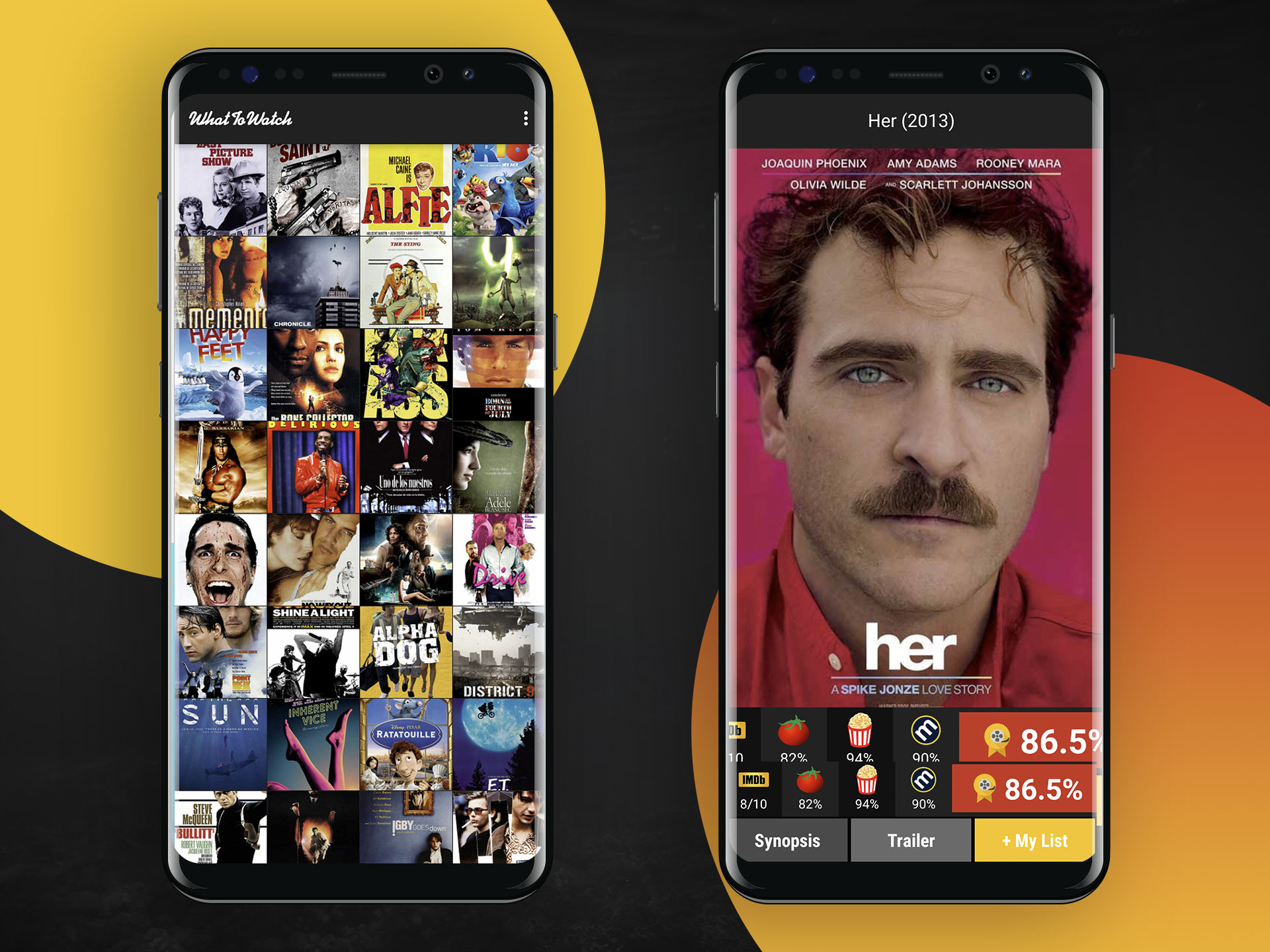 Appdesign UI UX movies עיצוב אפליקציית מובייל עיצוב ממשק משתמש What To Watch