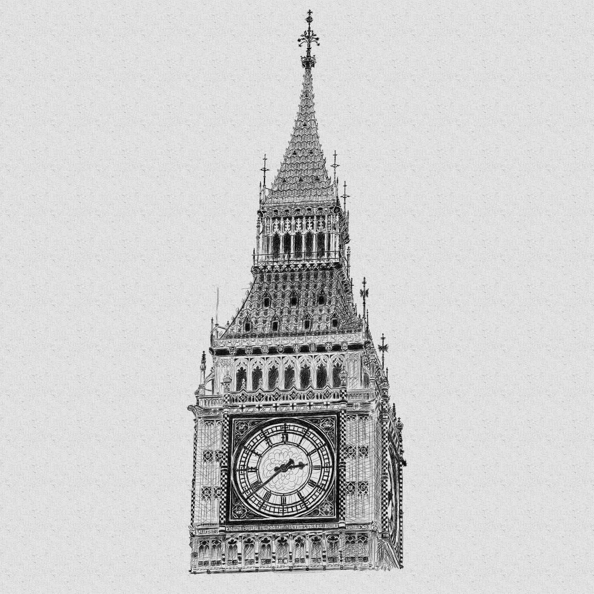 Big Ben pencil line illustration יור בעיפרון קווי ביג בן לונדון