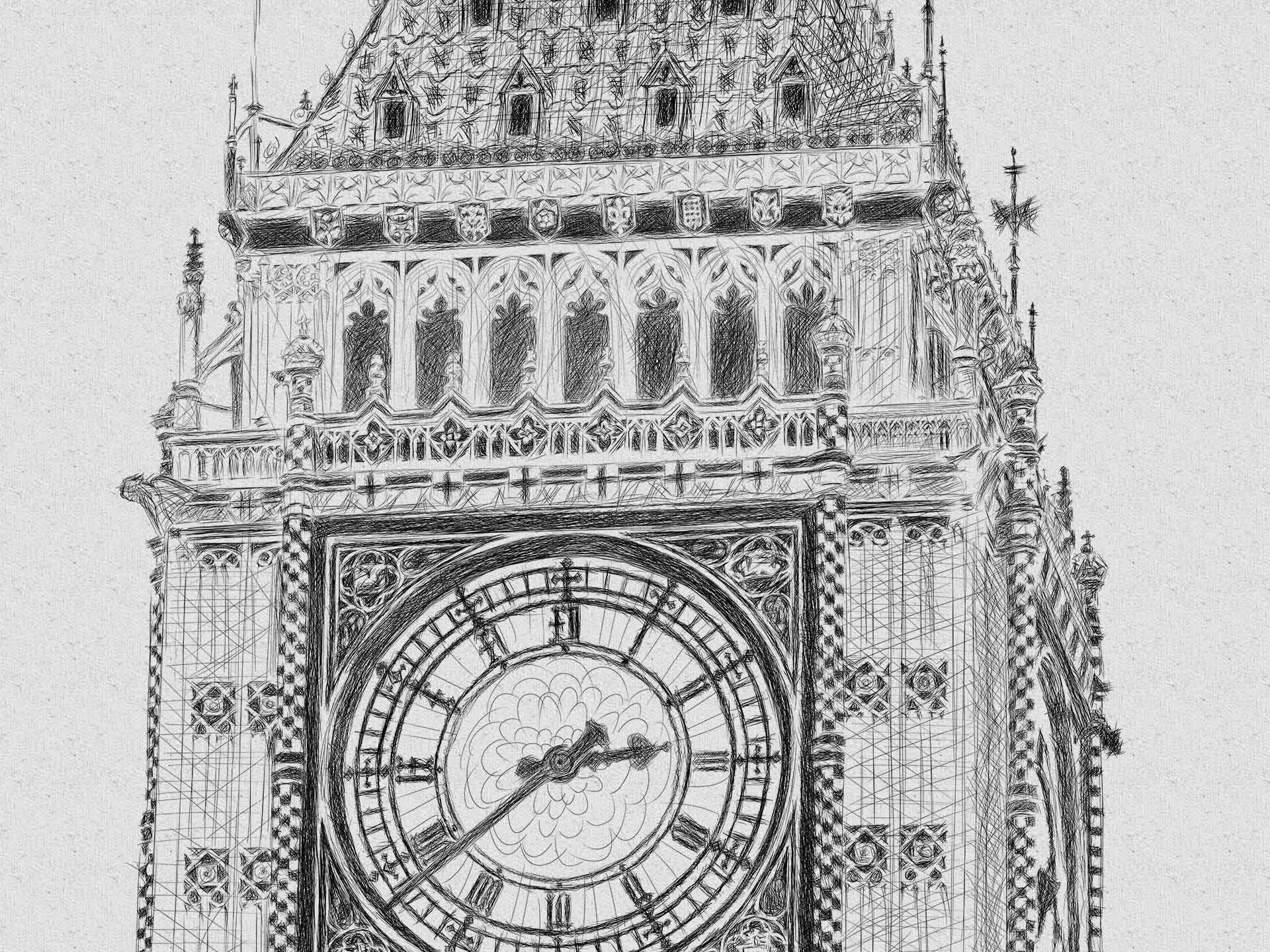 Big Ben pencil line illustration יור בעיפרון קווי ביג בן לונדון closeup1
