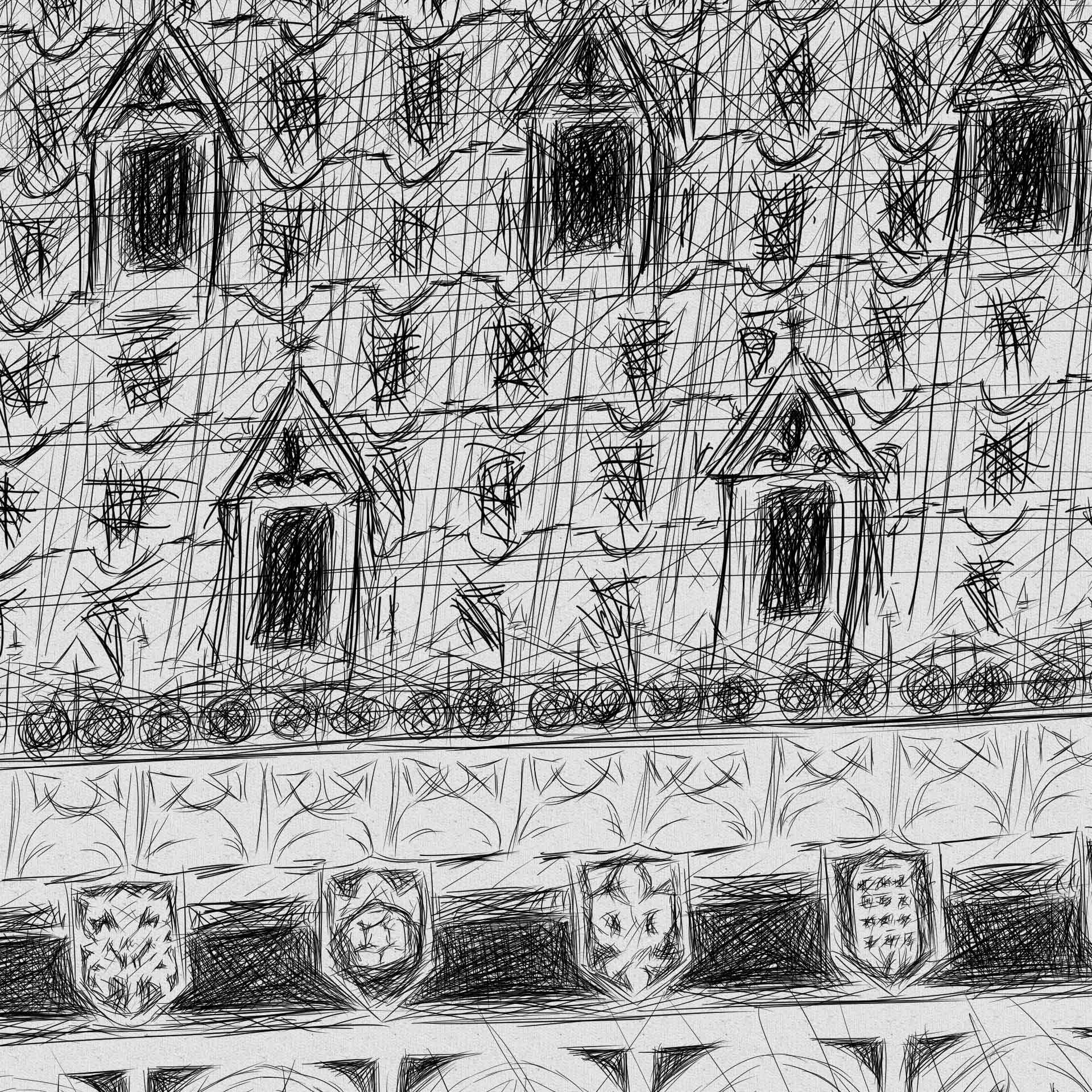 Big Ben pencil line illustration יור בעיפרון קווי ביג בן לונדון closeup4