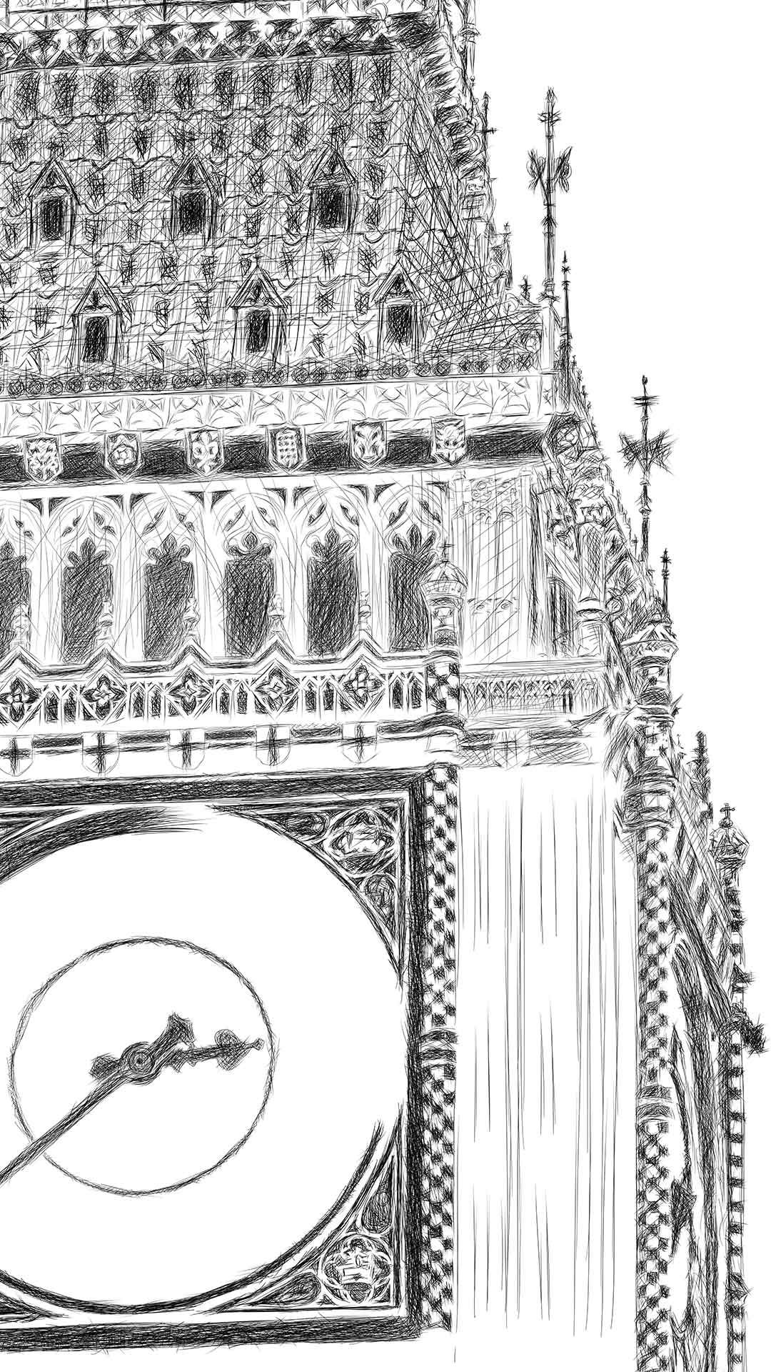 Big Ben pencil line illustration יור בעיפרון קווי ביג בן לונדון process2