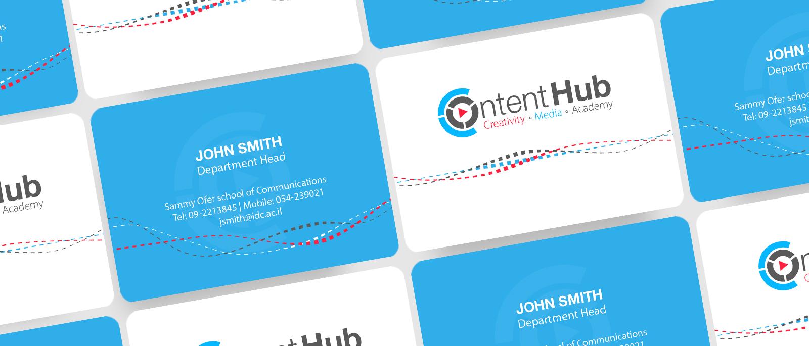 Branding content hub Herzeliya מיתוג וכרטיסי ביקור חממת התוכן הבינתחומי הרצליה
