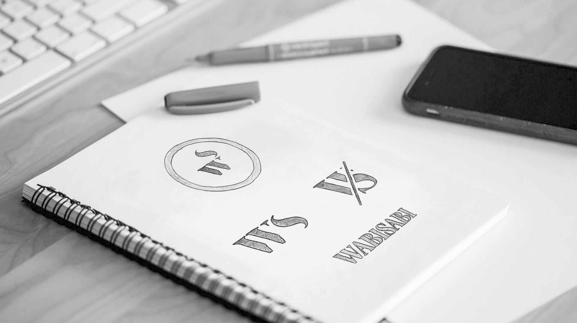 Branding pencil logo sketches interior design סקיצות לוגו מיתוג מעצבת פנים Wabi Sabi