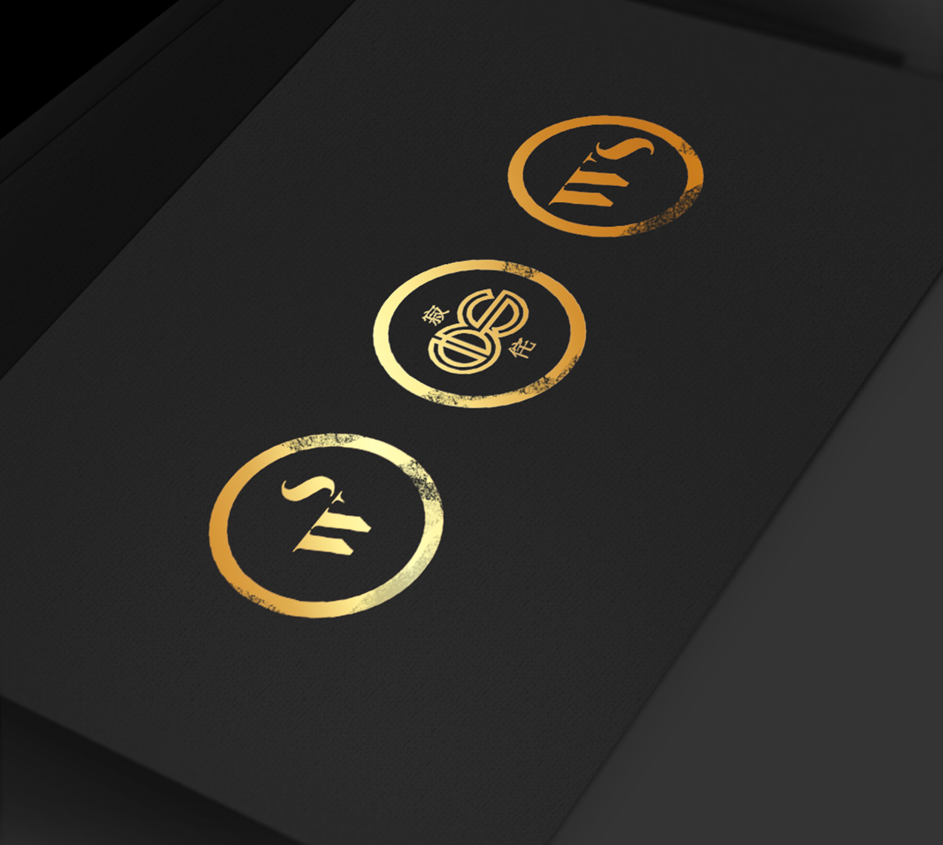Branding gold logo variations interior design סקיצות לוגו מיתוג מעצבת פנים Wabi Sabi