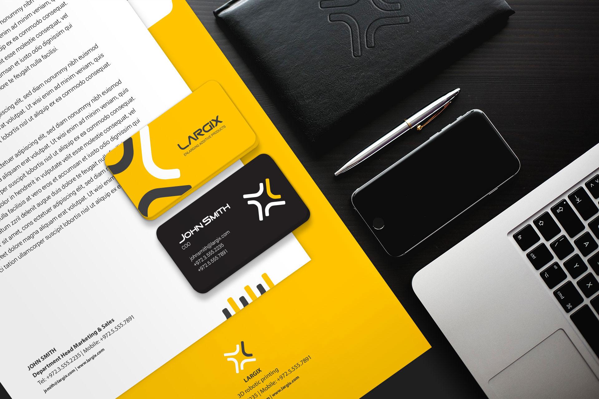 Branding stationary 3D printing מיתוג ועיצוב ניירת משרדית הדפסת תלת מימד Largix