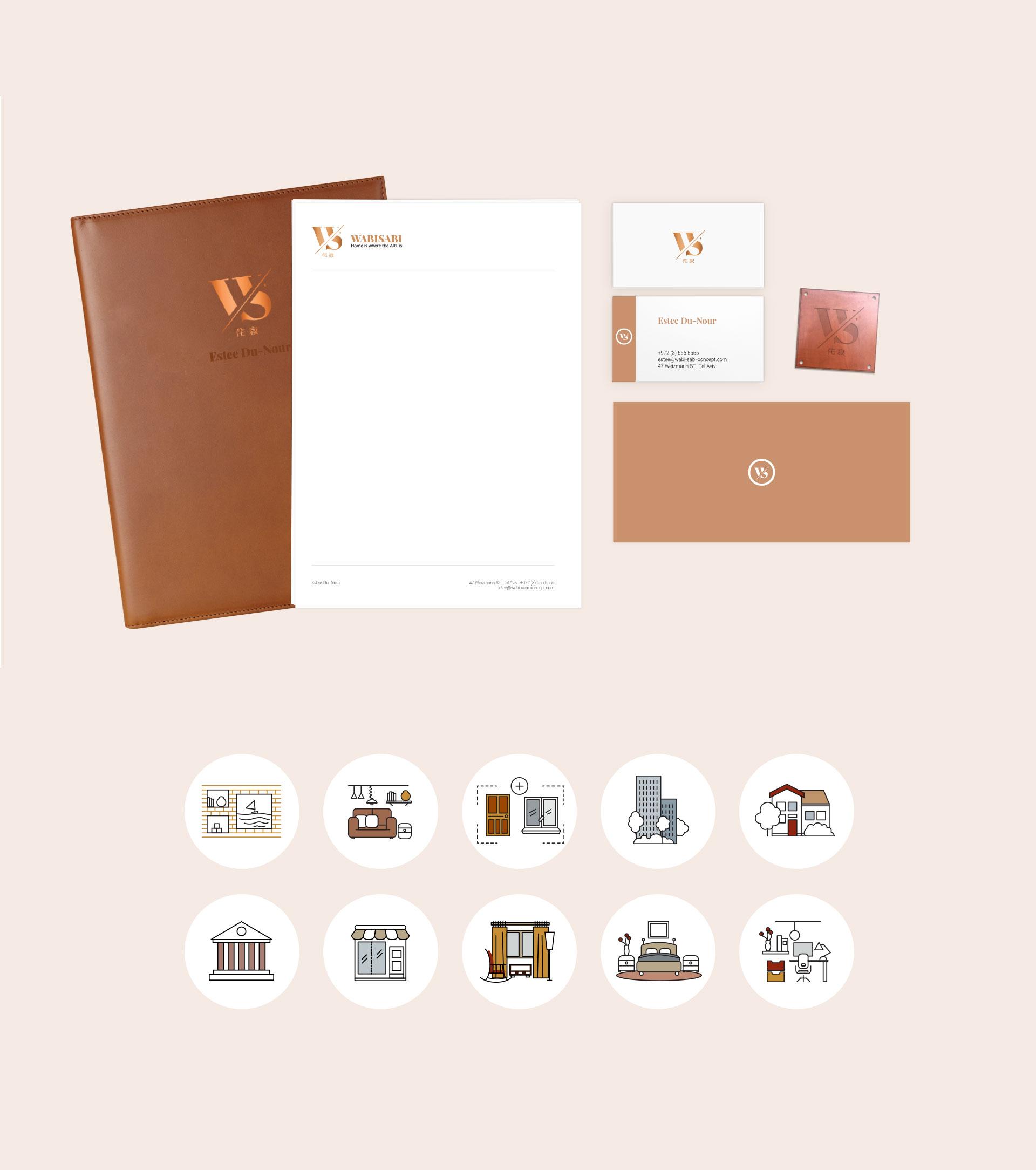 Branding stationary icon design interior design מיתוג ניירת עיצוב אייקונים מעצבת פנים Wabi Sabi