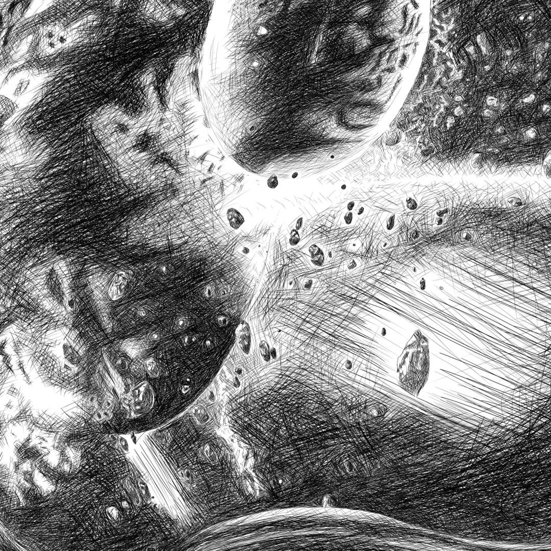 MajorTom - Astronaut Helmet pencil line illustration איור עיפרון דיגיטלי חלל על קסדת אסטרונאוט closeup1