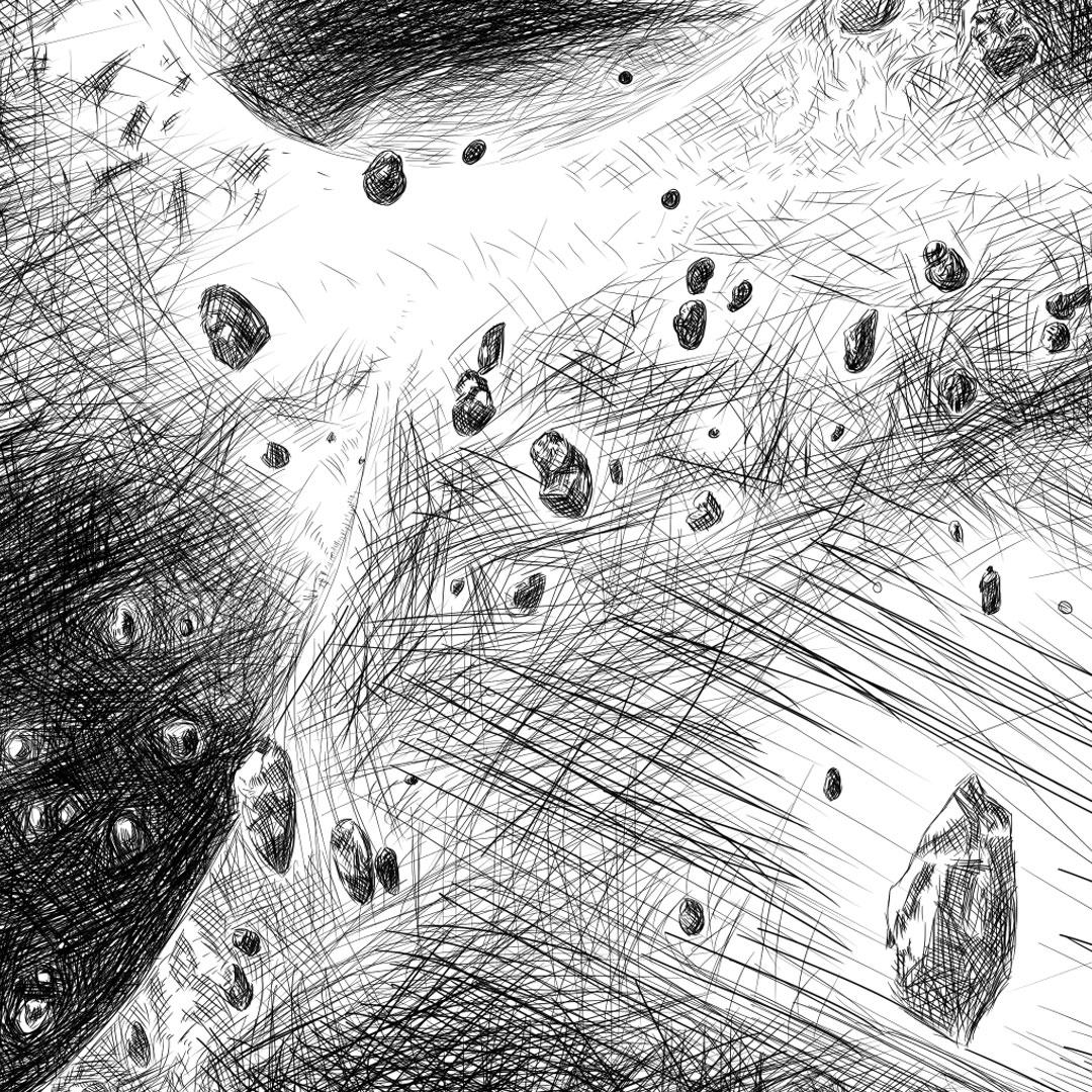 MajorTom - Astronaut Helmet pencil line illustration איור עיפרון דיגיטלי חלל על קסדת אסטרונאוט closeup2