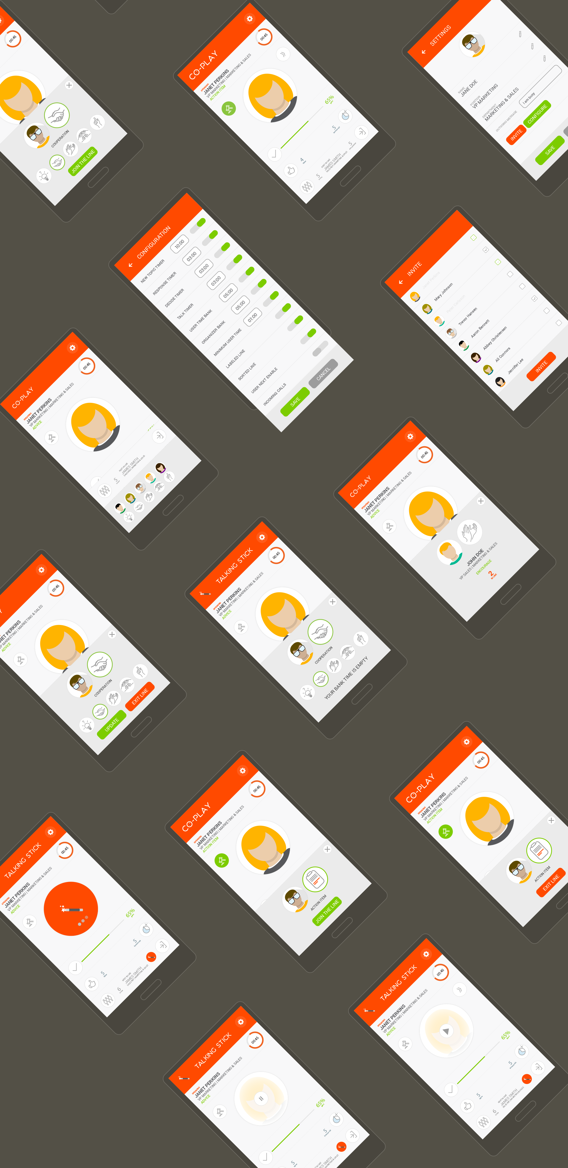 Mobile App design UI screens עיצוב אפליקציה עיצוב מסכי ממשק משתמש co-play