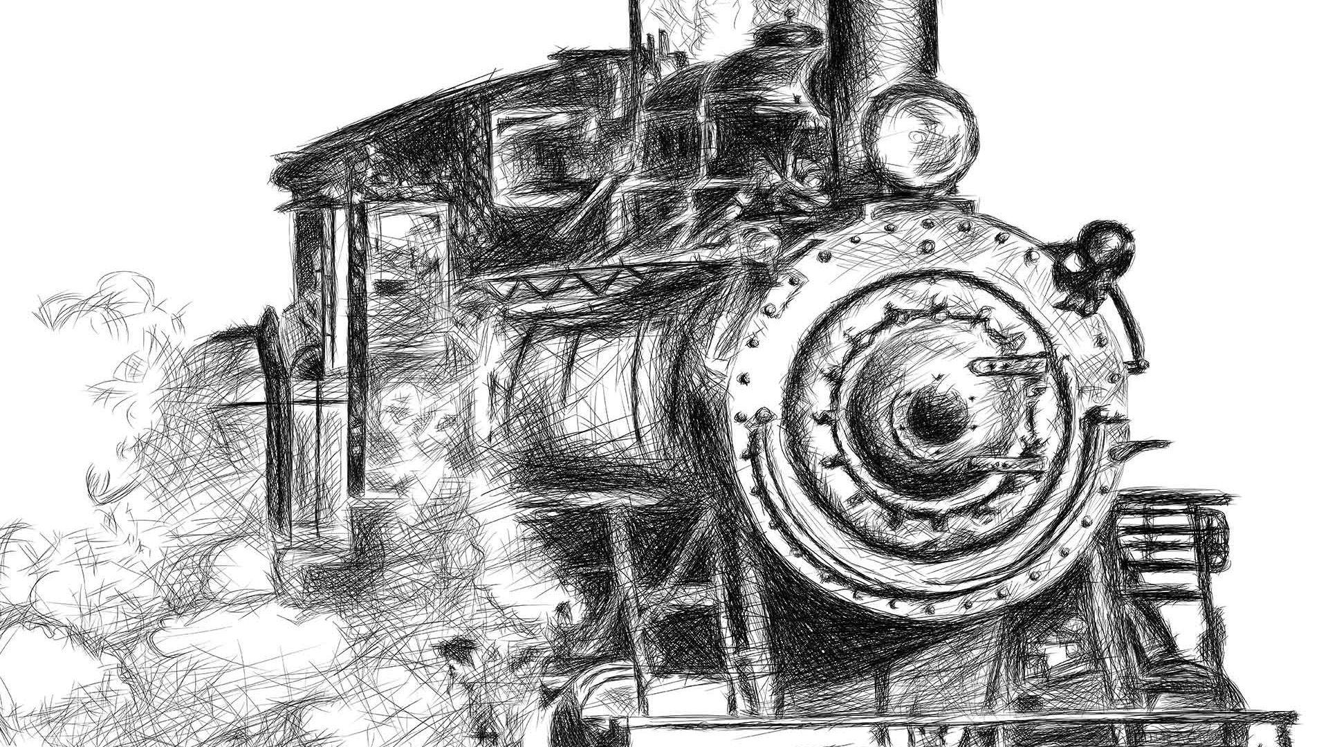 Orient Express train illustration digital pencil lines איור קטר רכבת עיפרון דיגיטלי