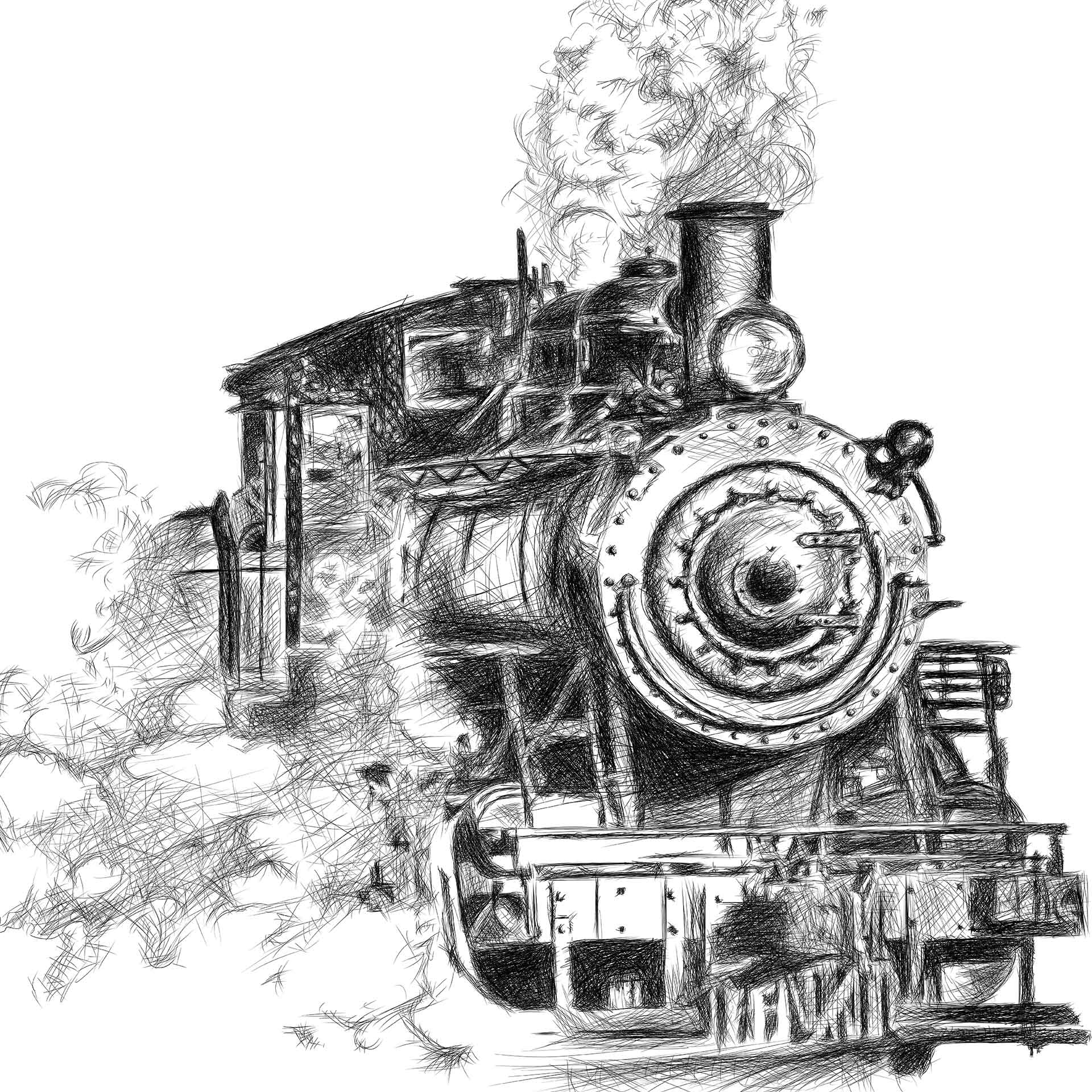 Orient Express train illustration digital pencil lines איור קטר רכבת עיפרון דיגיטלי