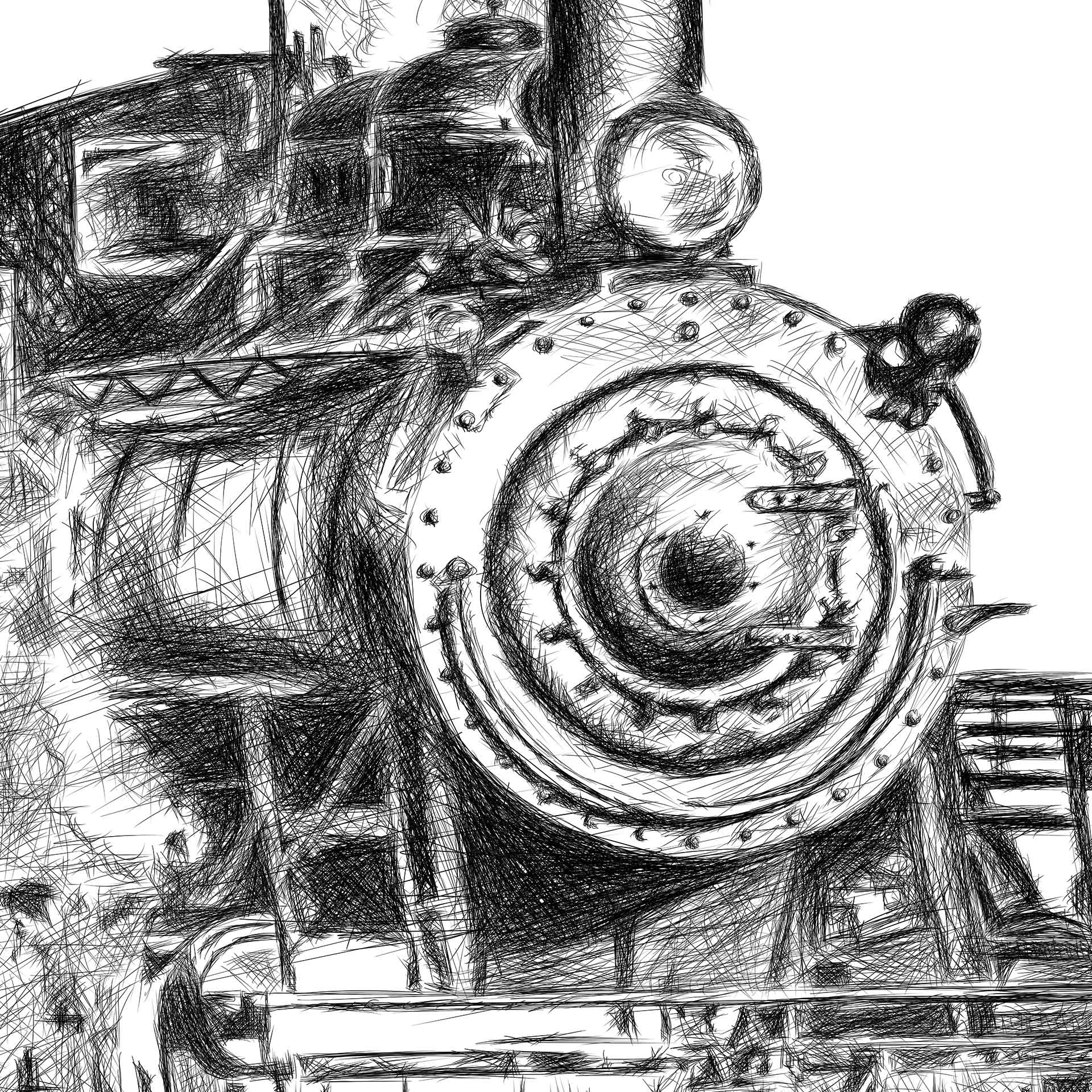 Orient Express train illustration digital pencil lines איור קטר רכבת עיפרון דיגיטלי closeup1