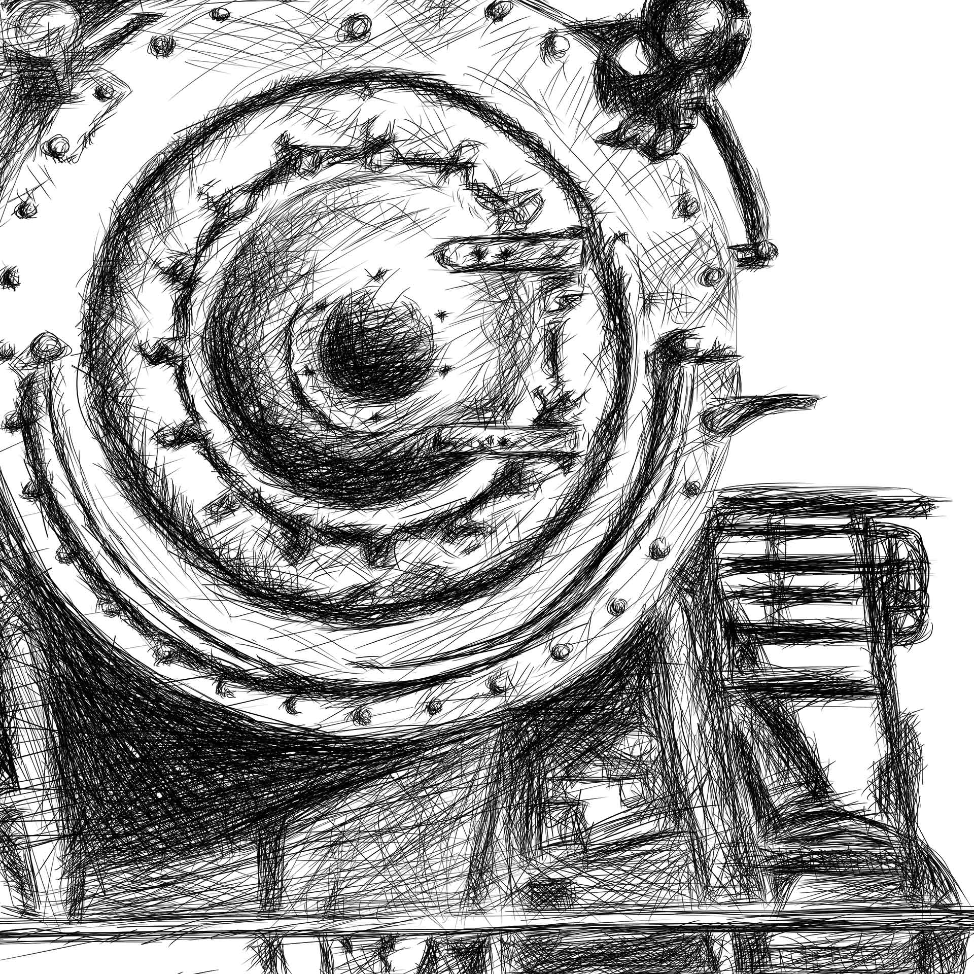 Orient Express train illustration digital pencil lines איור קטר רכבת עיפרון דיגיטלי closeup2