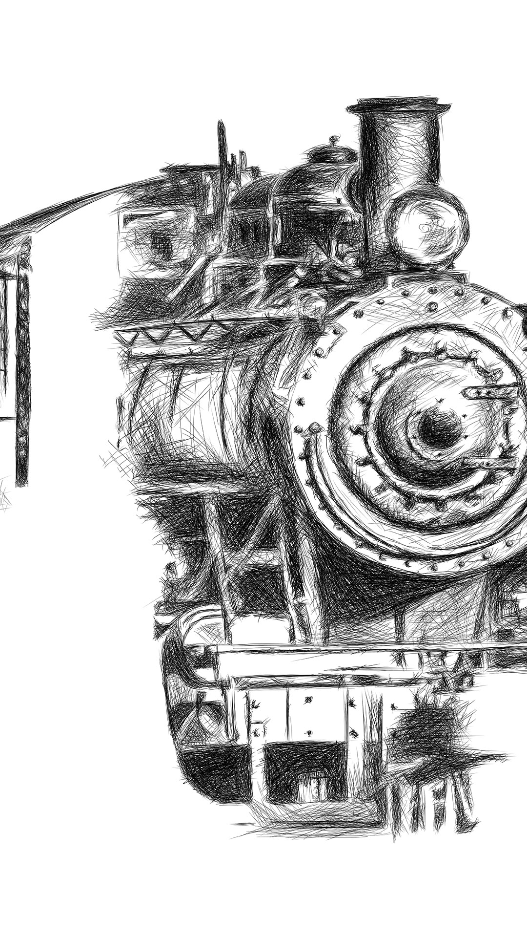 Orient Express train illustration digital pencil lines איור קטר רכבת עיפרון דיגיטלי process3