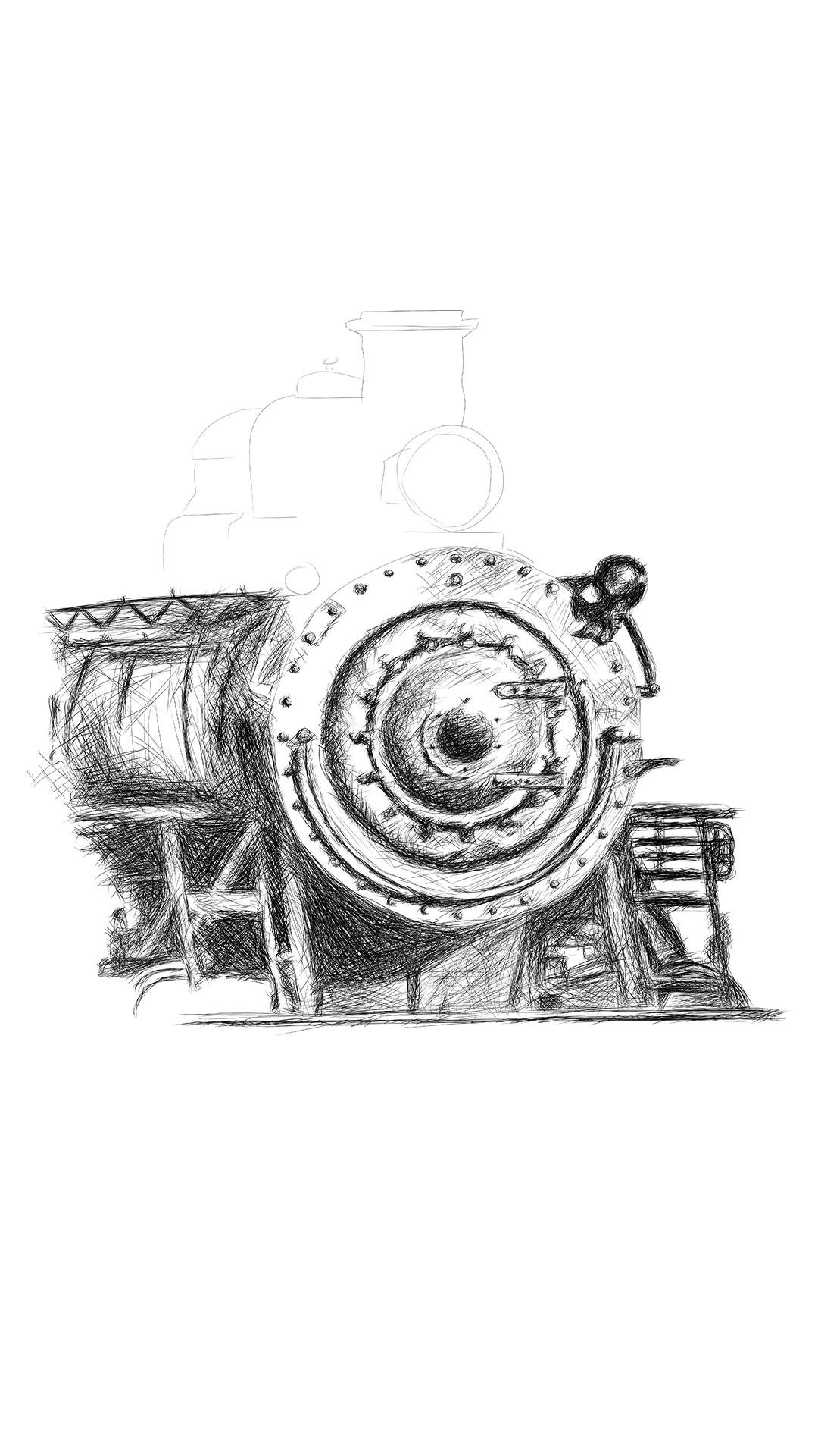 Orient Express train illustration digital pencil lines איור קטר רכבת עיפרון דיגיטלי process2