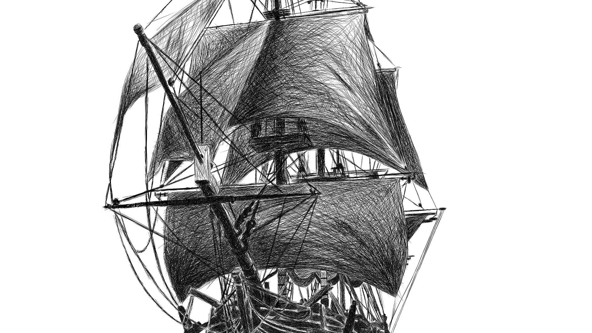 Pirate Ship Crimson pirate pencil line drawing ציור קווי בעיפרון דיגיטלי ספינת פיראטים