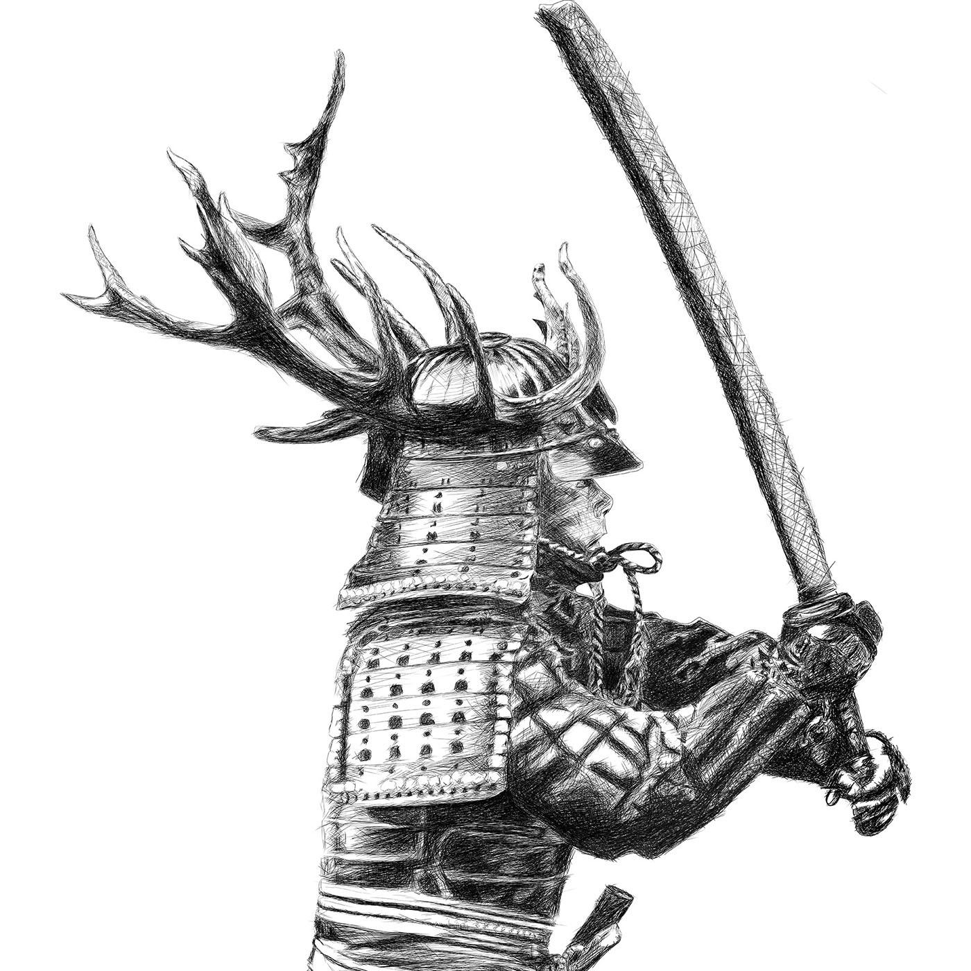 Samurai line drawing digital pencil ציור קווי סמוראי עיפרון דיגיטלי