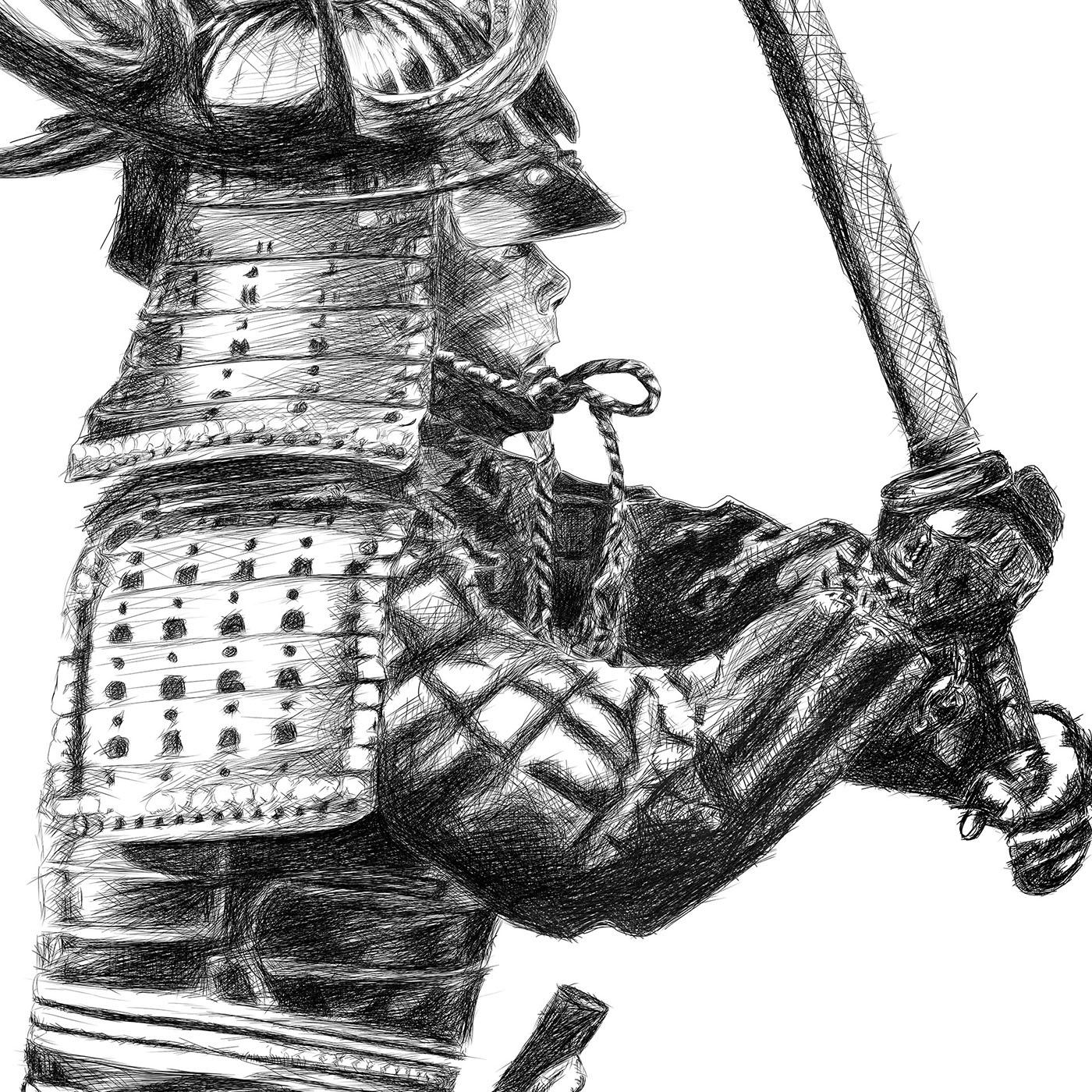 Samurai line drawing digital pencil ציור קווי סמוראי עיפרון דיגיטלי closeup1