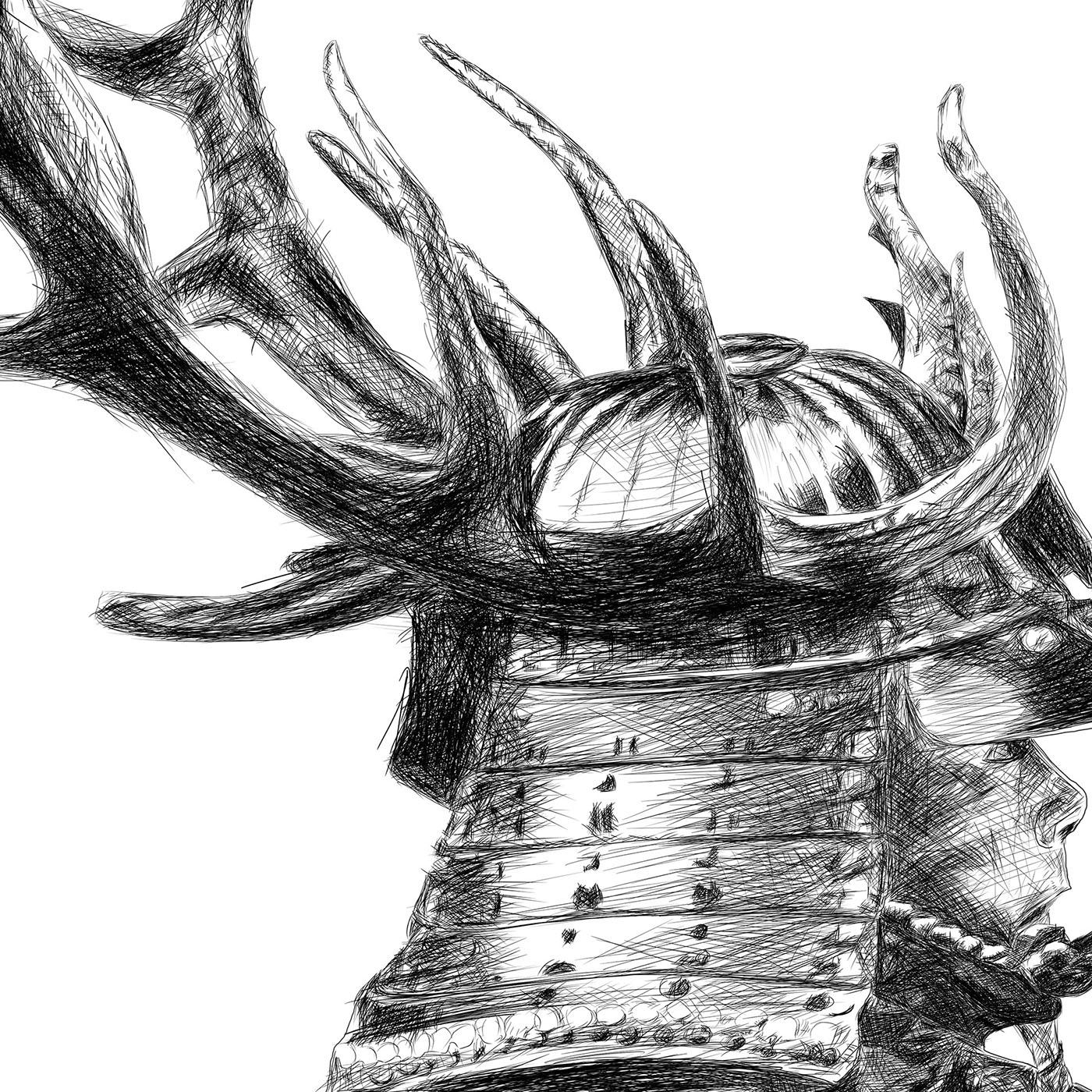 Samurai line drawing digital pencil ציור קווי סמוראי עיפרון דיגיטלי closeup2