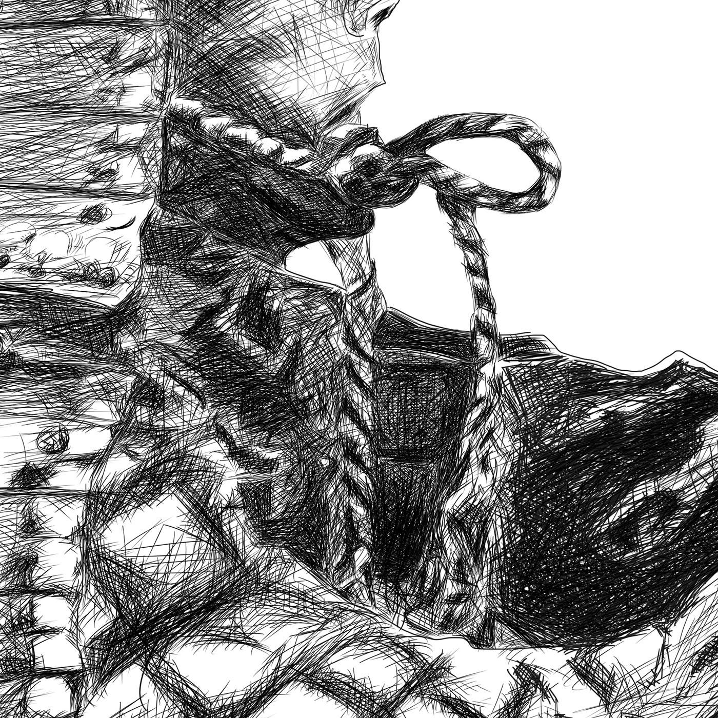 Samurai line drawing digital pencil ציור קווי סמוראי עיפרון דיגיטלי closeup3