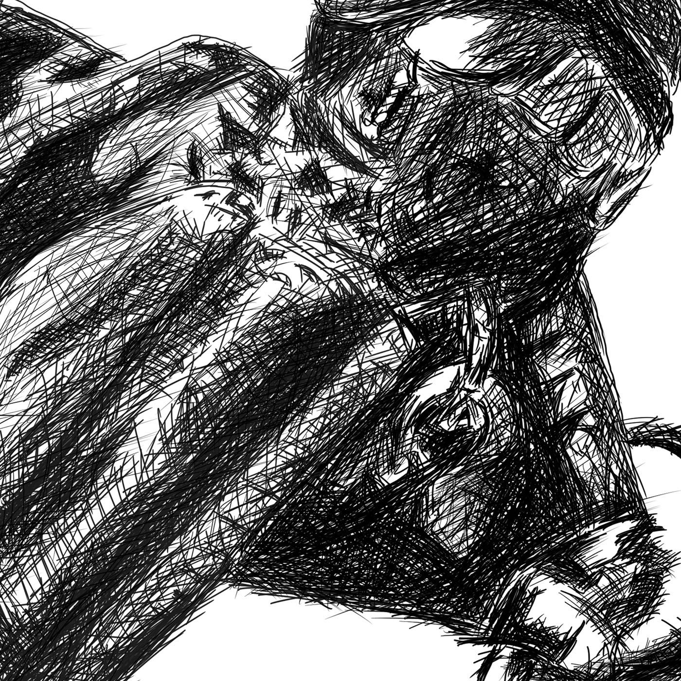 Samurai line drawing digital pencil ציור קווי סמוראי עיפרון דיגיטלי closeup4