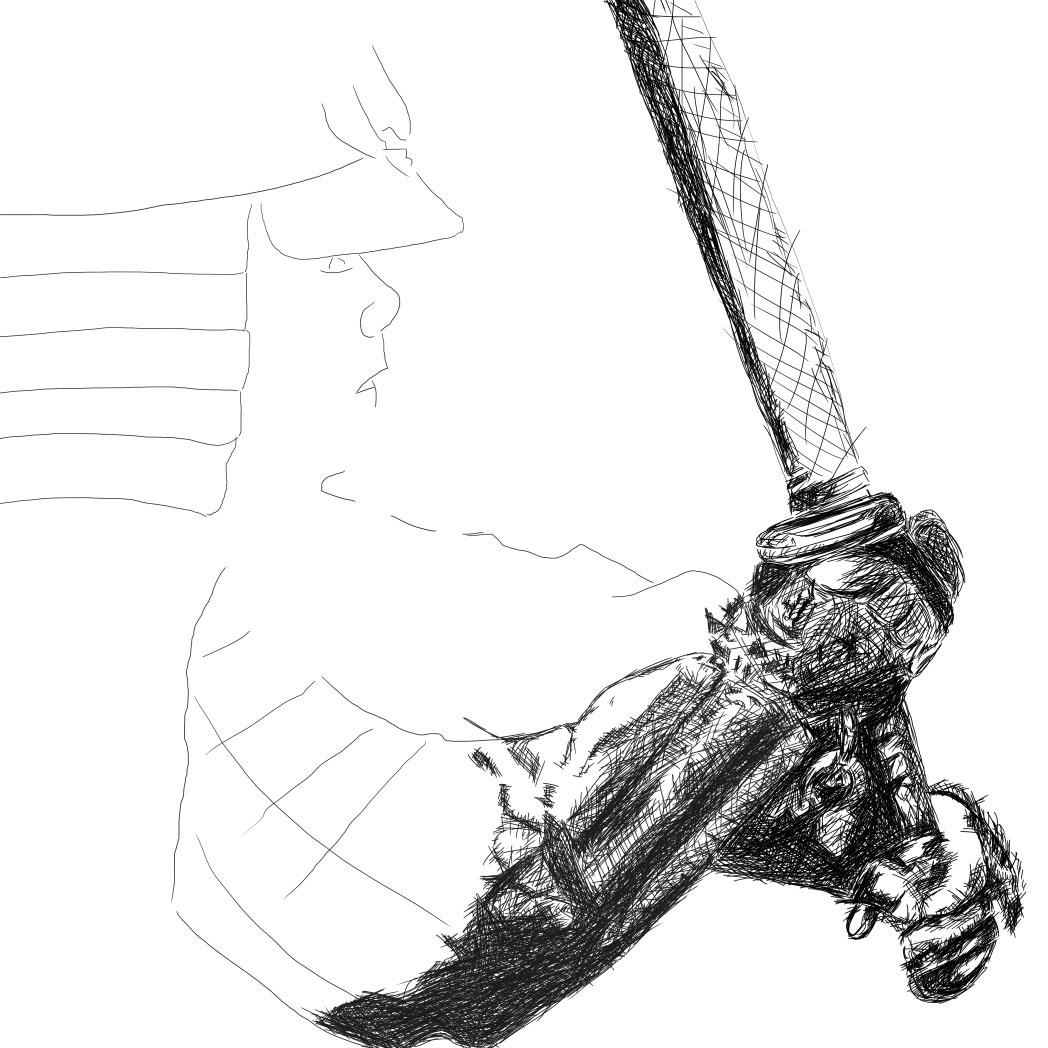 Samurai line drawing digital pencil ציור קווי סמוראי עיפרון דיגיטלי process1