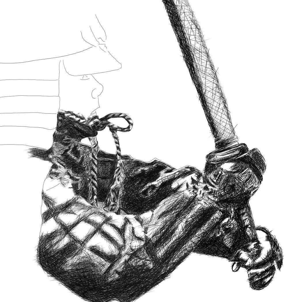 Samurai line drawing digital pencil ציור קווי סמוראי עיפרון דיגיטלי process2