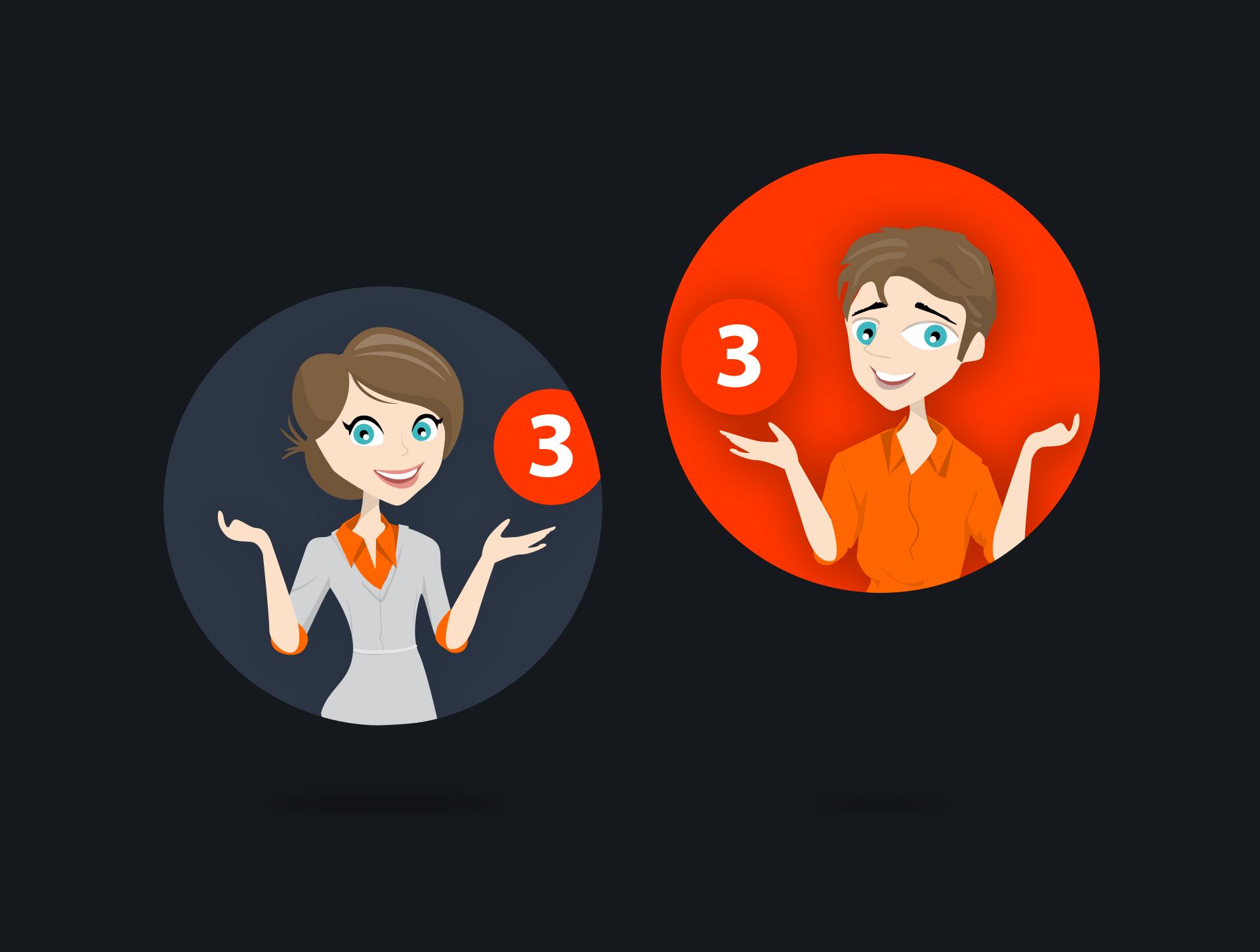 Webbapp characters עיצוב דמויות לאפליקציה