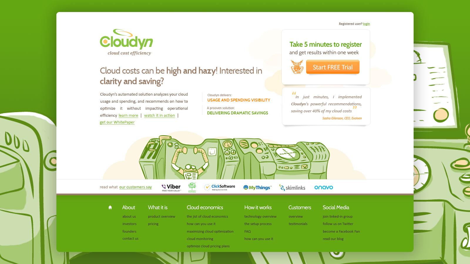 Web design for startup cloudyn עיצוב אתר לסטארטאפ קלאודין