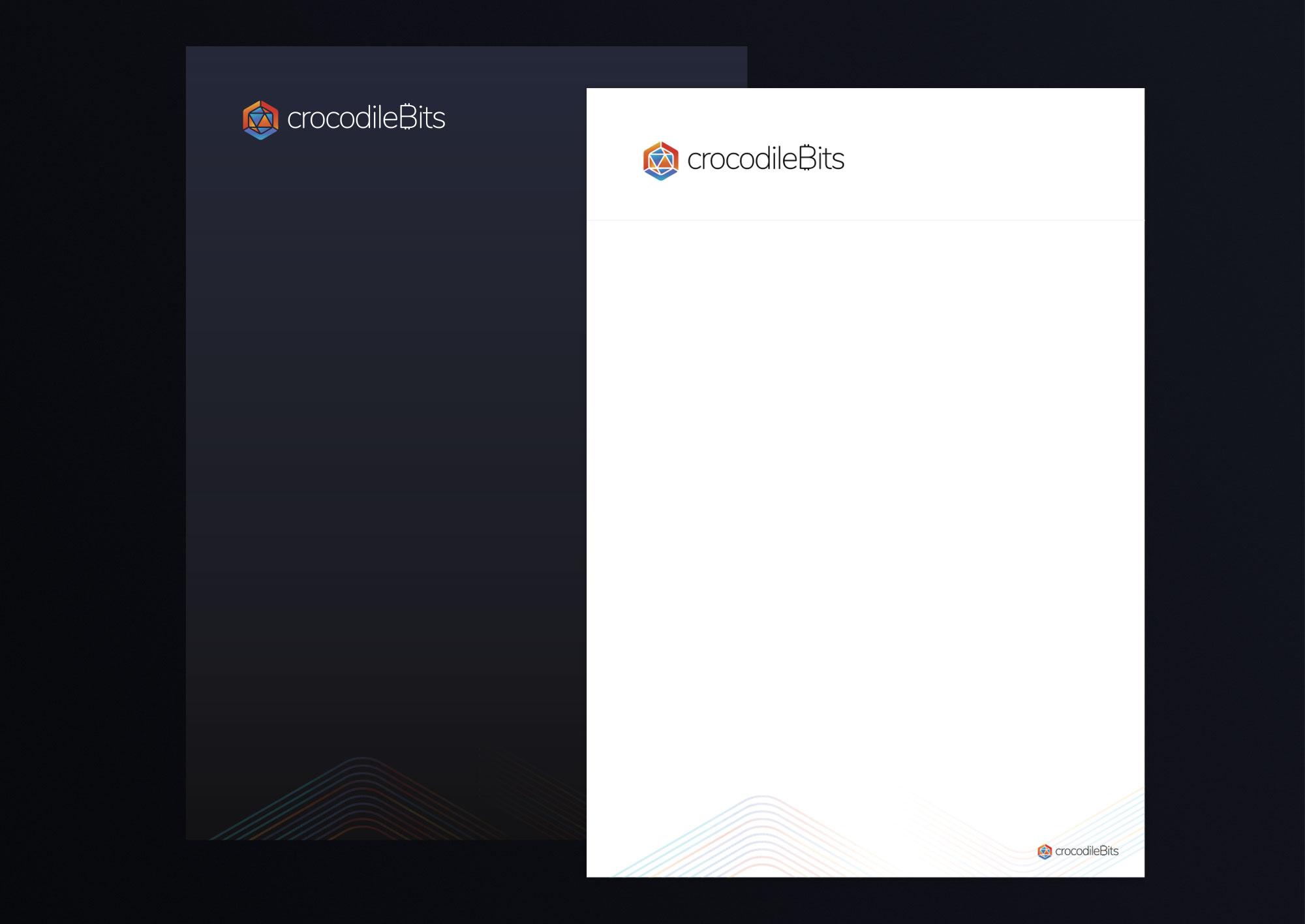 Branding stationary crypto currency יצירת מותג מטבע קריפטוגרפי ניירת CrocodileBits