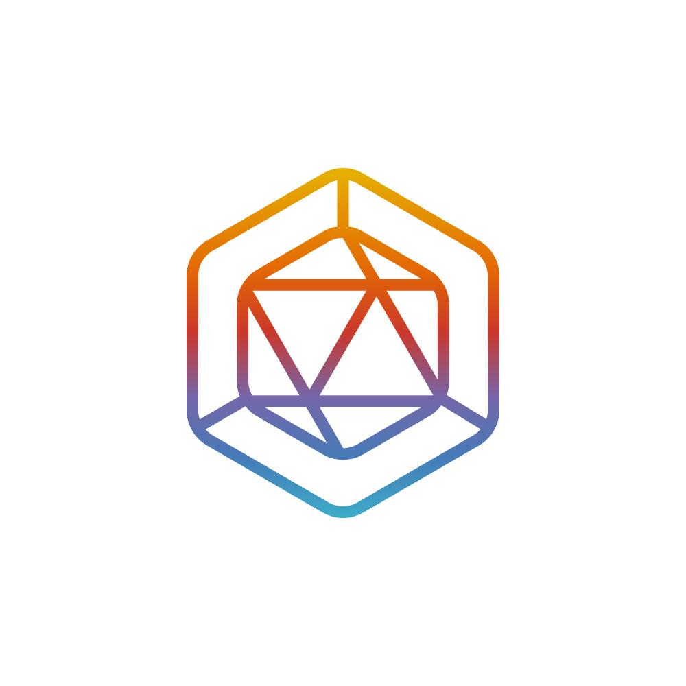 Polygon line logo design crypto currency עיצוב לוגו ויצירת מותג מטבע קריפטוגרפי CrocodileBits
