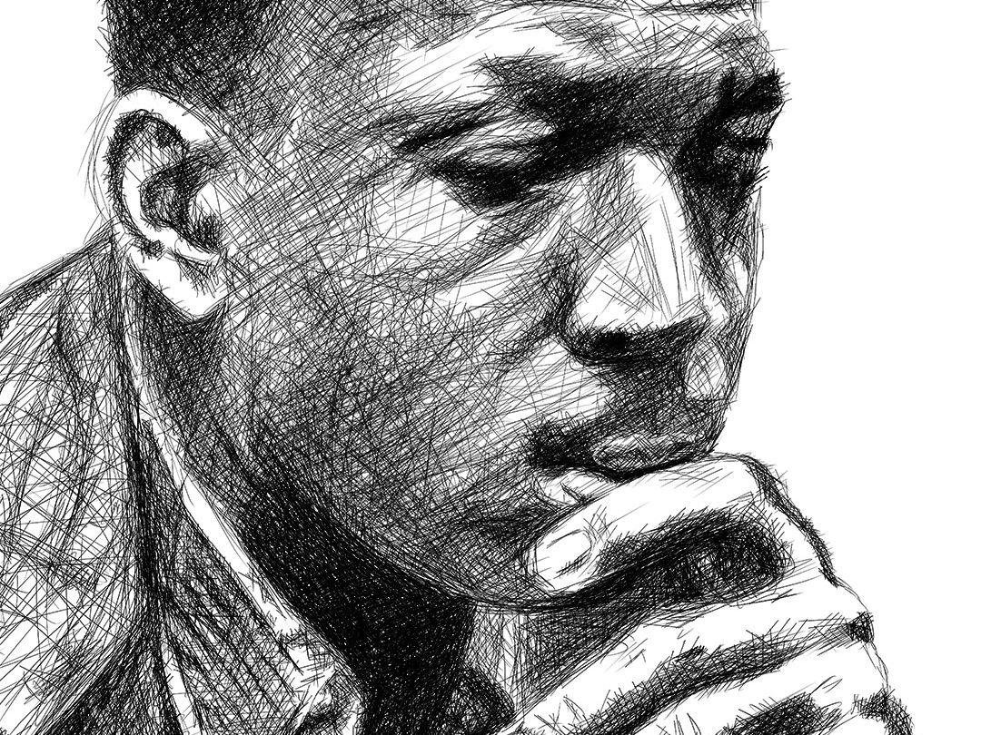 John coltrane line drawing digital pencil ציור קווי ג'ון קולטריין עיפרון דיגיטלי closeup 1