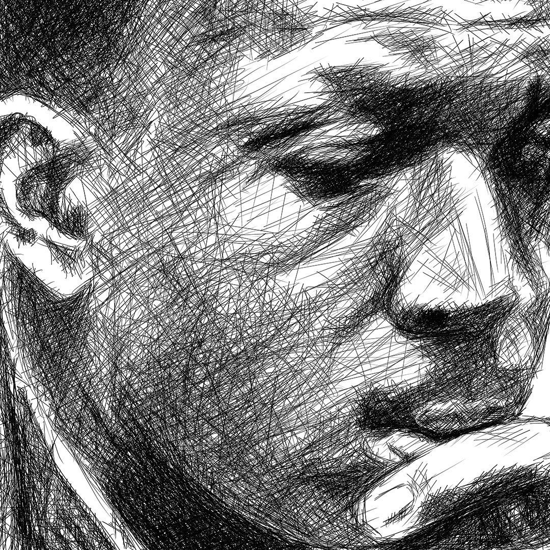 John coltrane line drawing digital pencil ציור קווי ג'ון קולטריין עיפרון דיגיטלי closeup 2