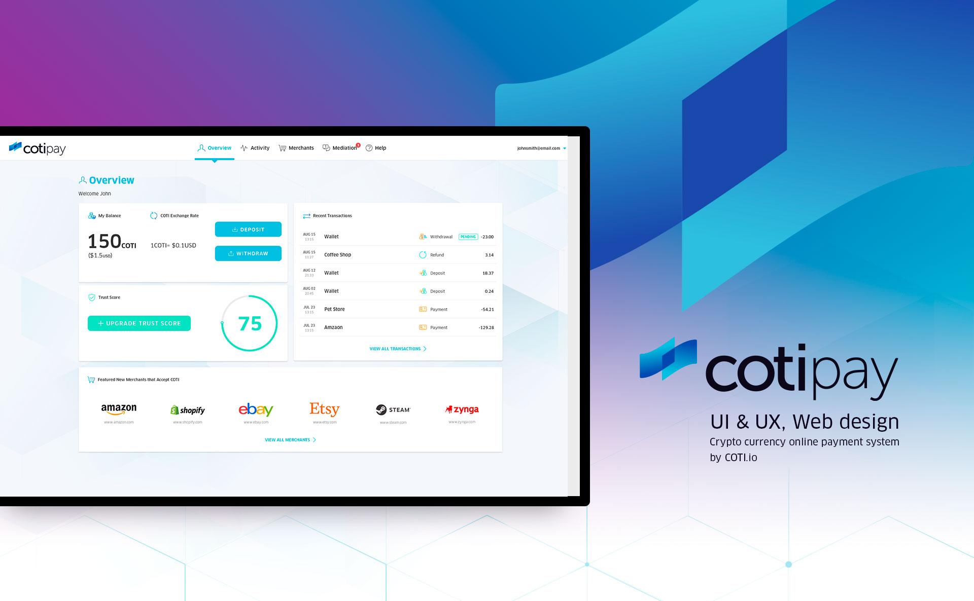 Cotipay - UI & UX for digital crypto currency payment system by COTI תכנון חוויית משתמש ועיצוב ממשק משתמש לארנק דיגיטלי קריפטו 1