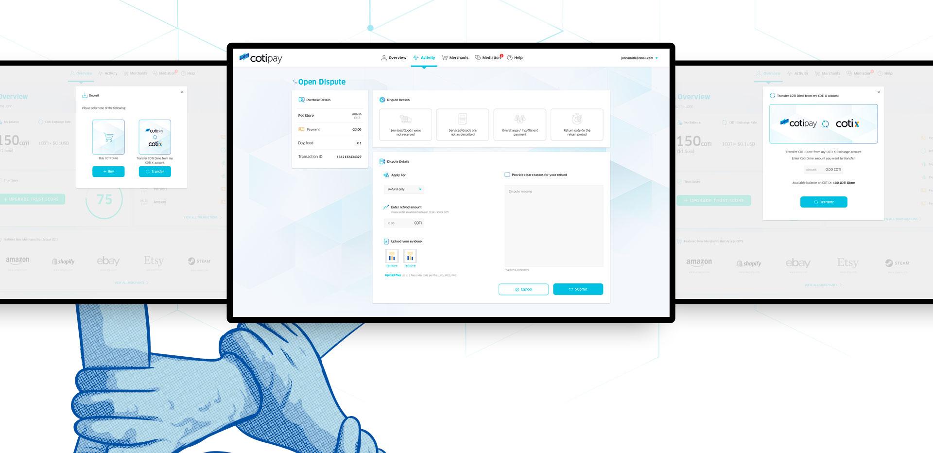 Cotipay - UI & UX for digital crypto currency payment system by COTI תכנון חוויית משתמש ועיצוב ממשק משתמש לארנק דיגיטלי קריפטו 4
