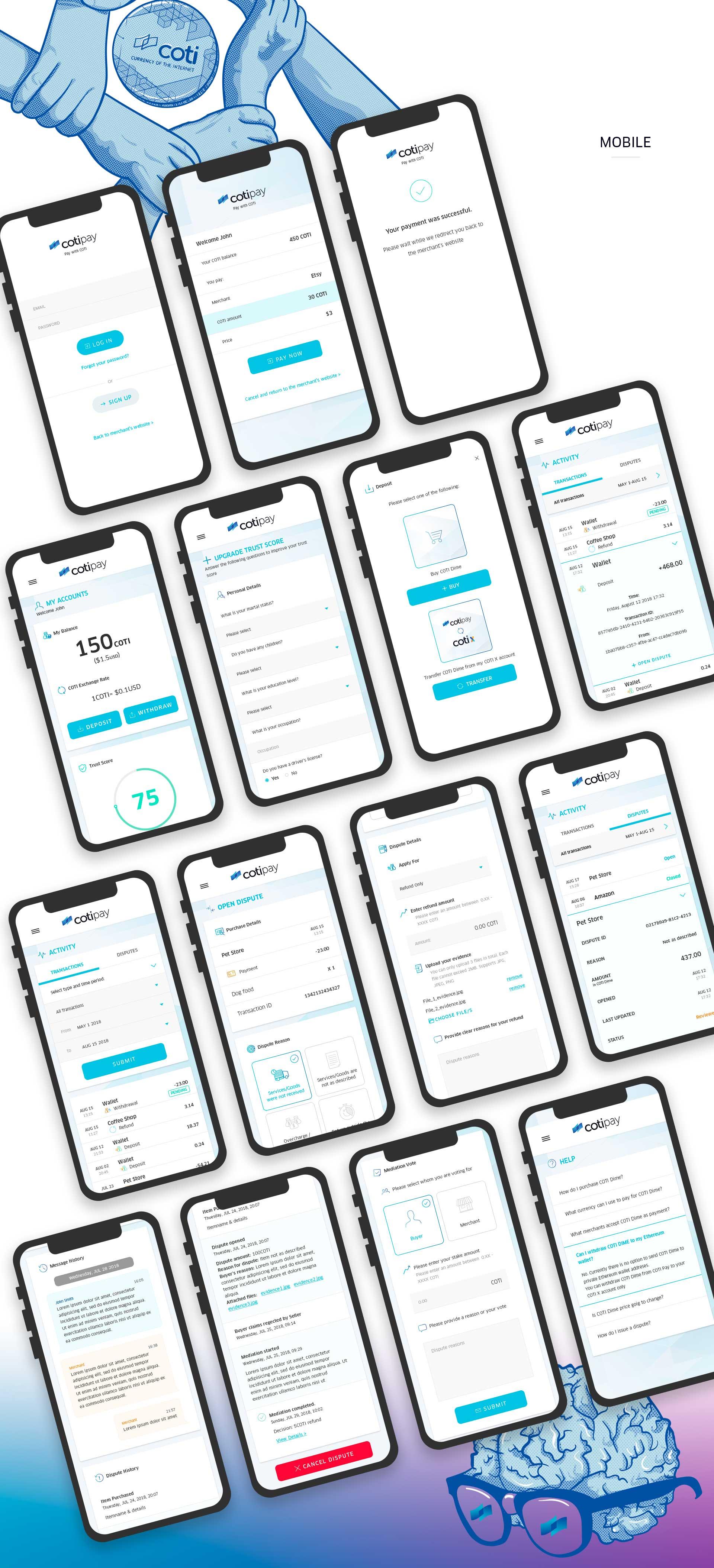 Cotipay - UI & UX for digital crypto currency payment system by COTI תכנון חוויית משתמש ועיצוב ממשק משתמש לארנק דיגיטלי קריפטו 5