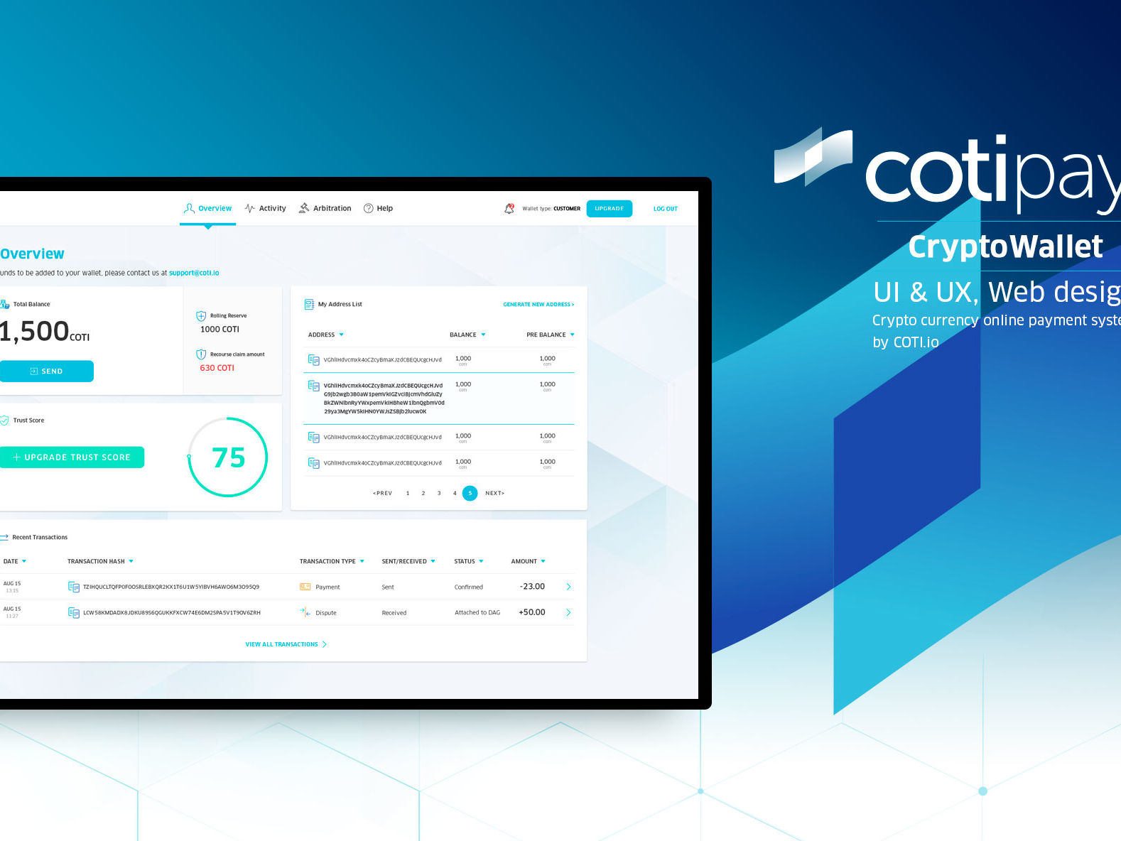 UI & UX for digital crypto currency wallet by COTI תכנון חוויית משתמש ועיצוב ממשק משתמש לארנק דיגיטלי קריפטו 1