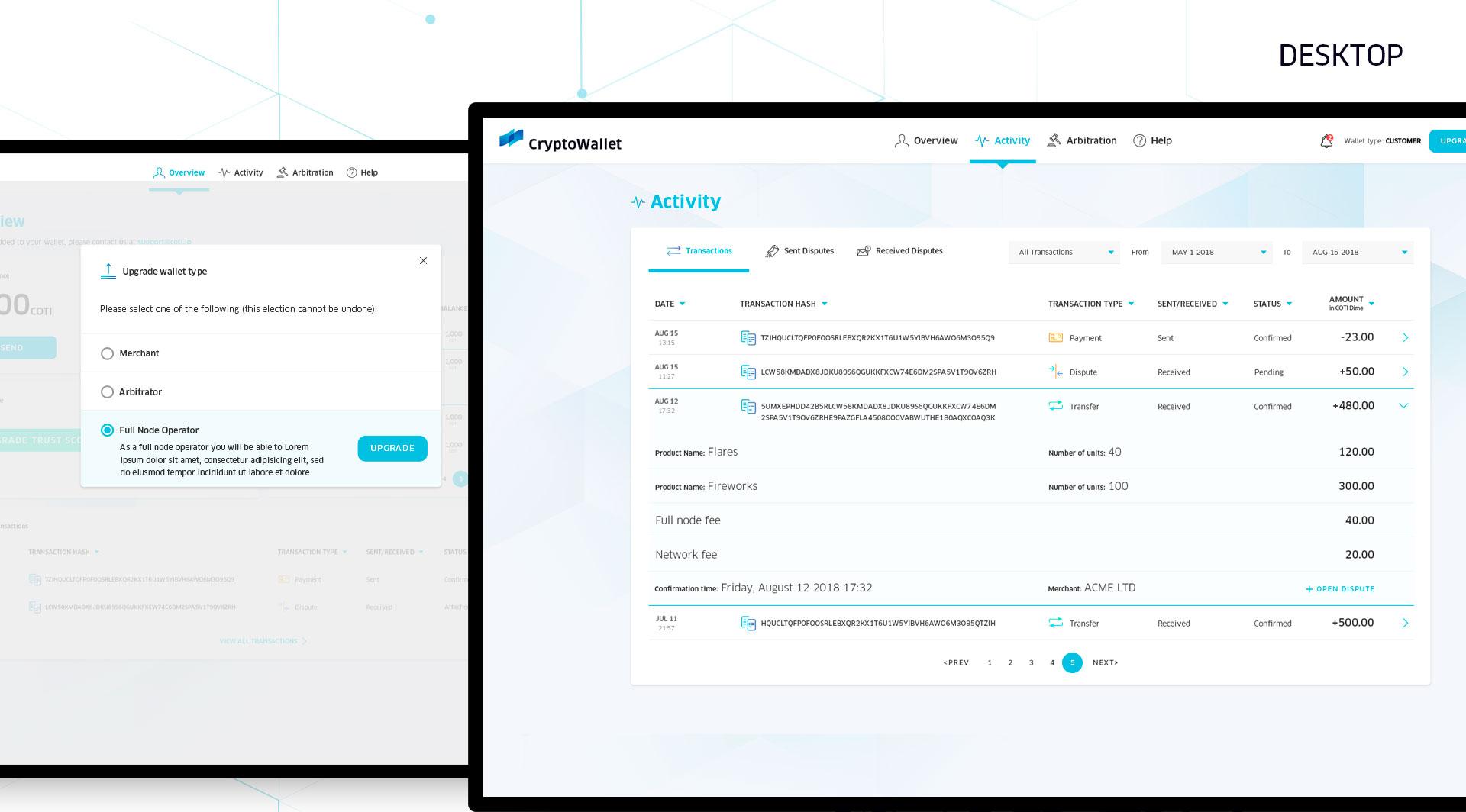 UI & UX for digital crypto currency wallet by COTI תכנון חוויית משתמש ועיצוב ממשק משתמש לארנק דיגיטלי קריפטו 2