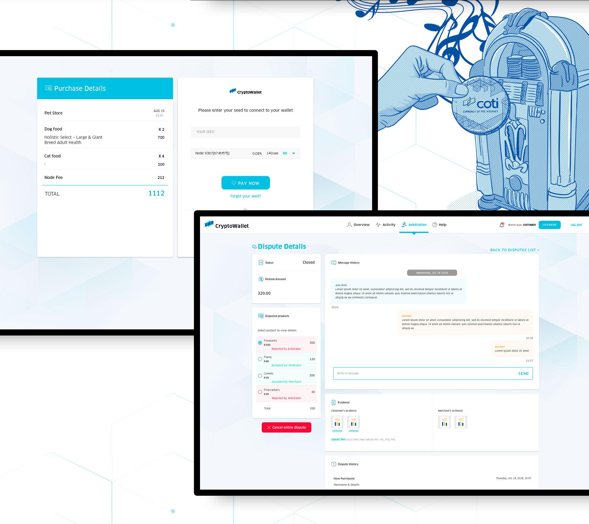 UI & UX for digital crypto currency wallet by COTI תכנון חוויית משתמש ועיצוב ממשק משתמש לארנק דיגיטלי קריפטו 3