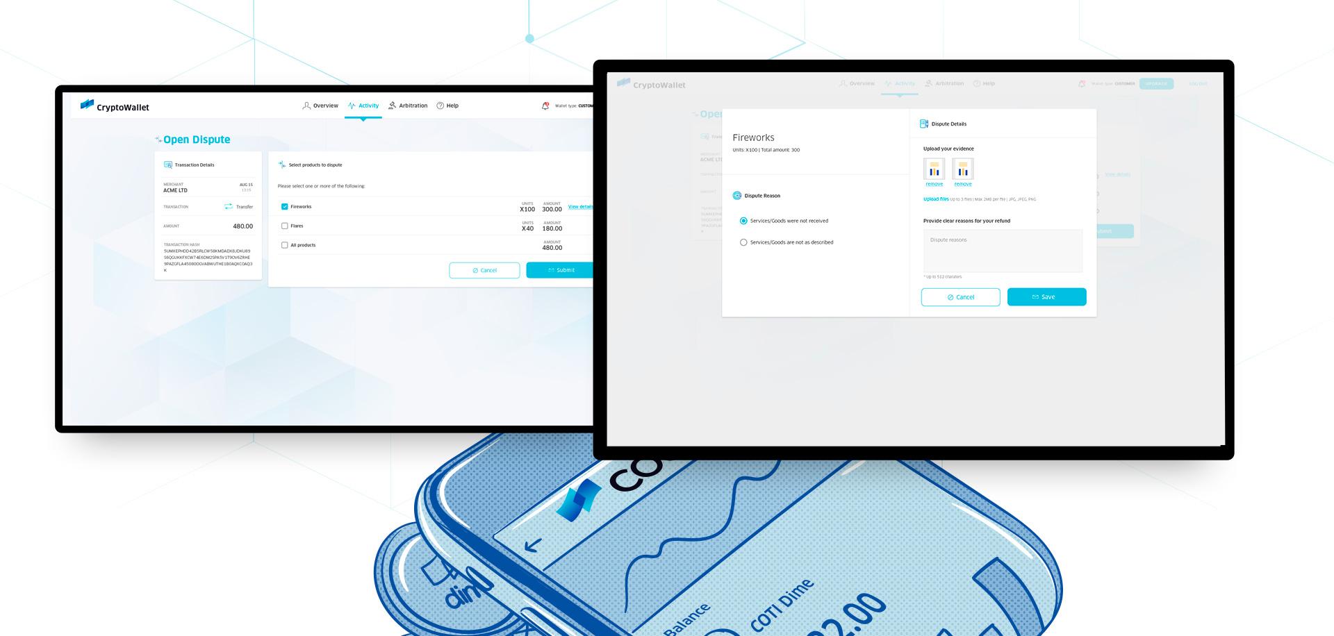 UI & UX for digital crypto currency wallet by COTI תכנון חוויית משתמש ועיצוב ממשק משתמש לארנק דיגיטלי קריפטו 4