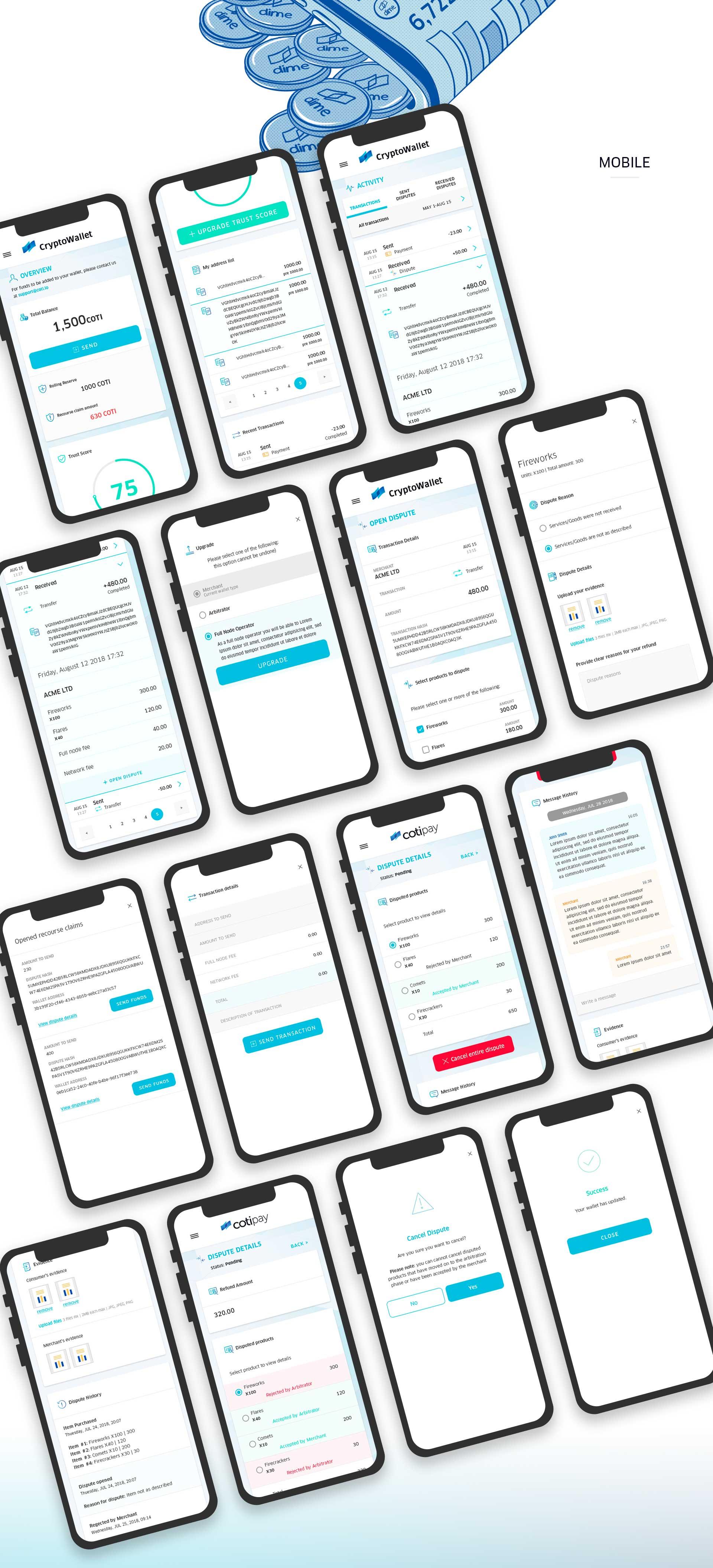UI & UX for digital crypto currency wallet by COTI תכנון חוויית משתמש ועיצוב ממשק משתמש לארנק דיגיטלי קריפטו 5